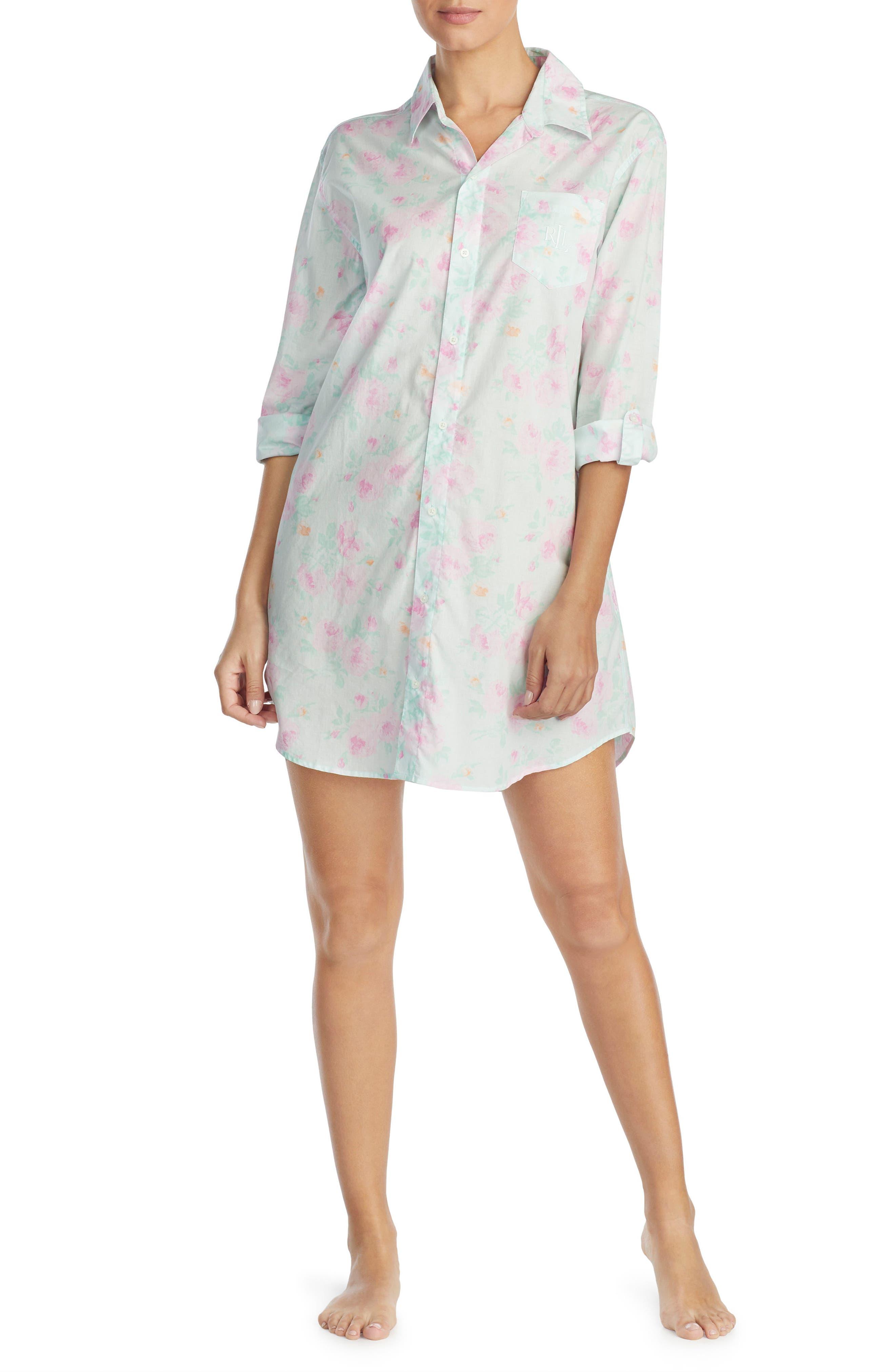 Print Sleep Shirt,                             Alternate thumbnail 3, color,                             Mint/ Pink Flower