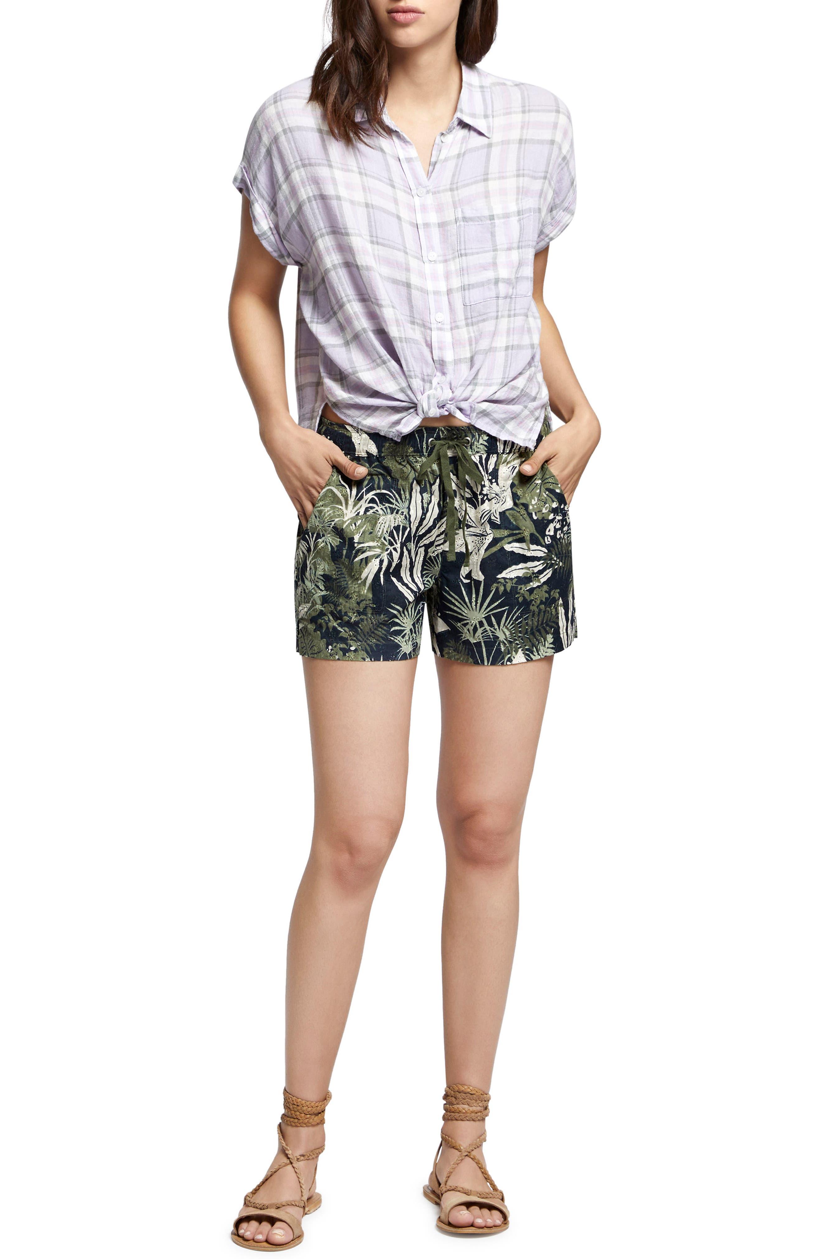 Mod Short Sleeve Boyfriend Shirt,                             Alternate thumbnail 4, color,                             Orchid Oasis Plaid
