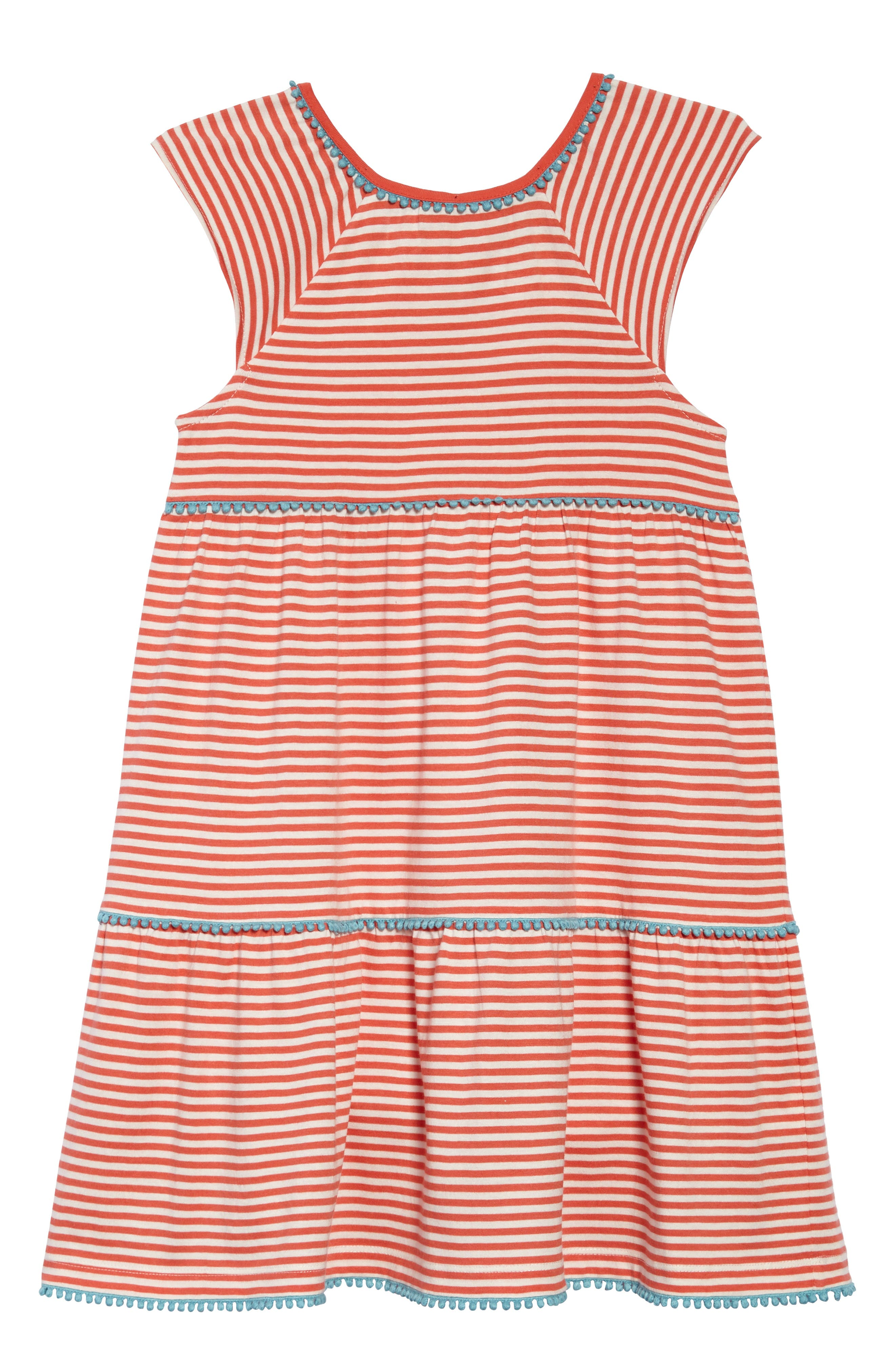 Tiered Jersey Frill Dress,                             Main thumbnail 1, color,                             Melon Crush Orange/ Ivory Ora