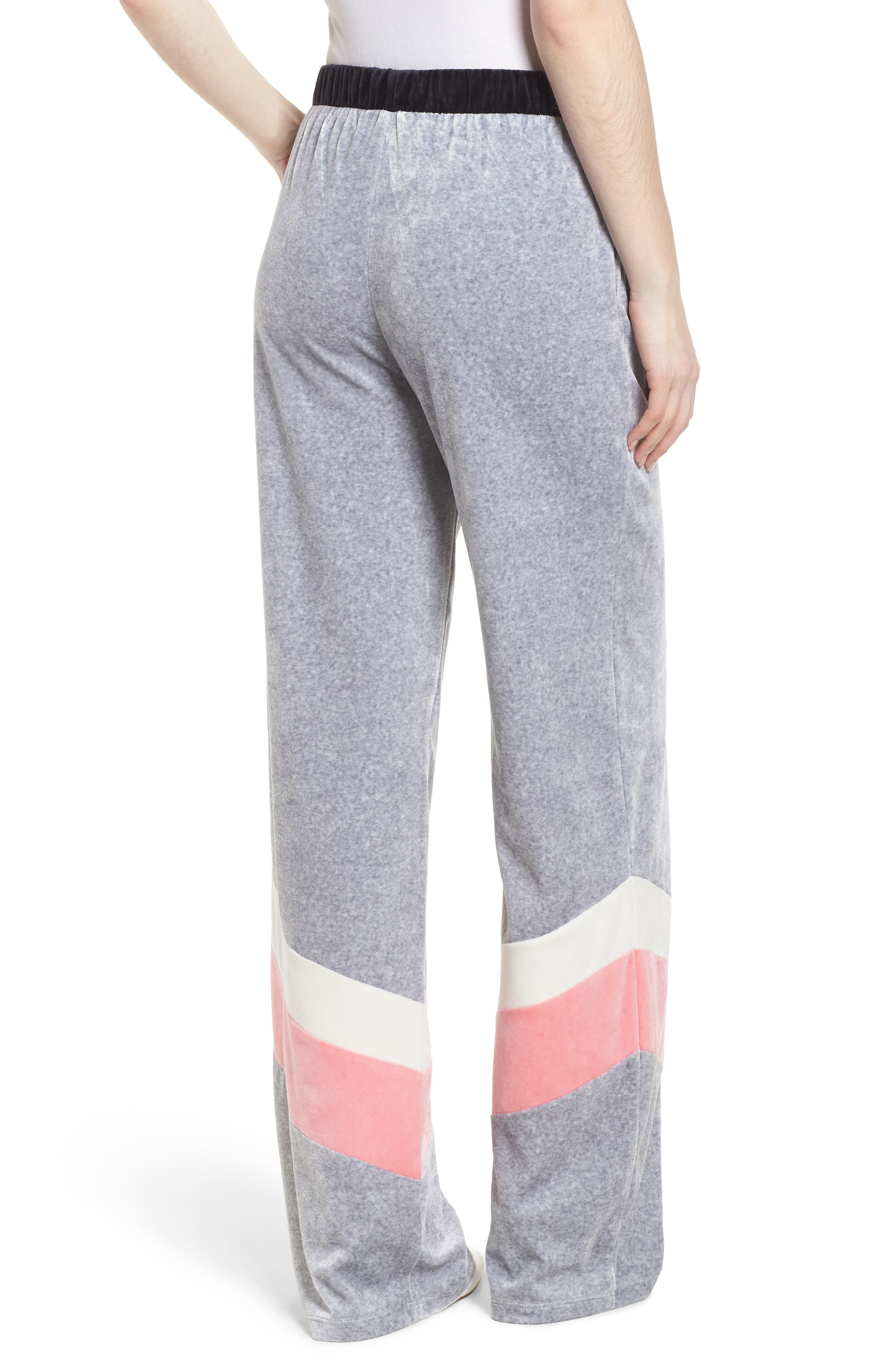 Colorblock Velour Wide Leg Pants,                             Alternate thumbnail 2, color,                             Silver Lining Angel Combo
