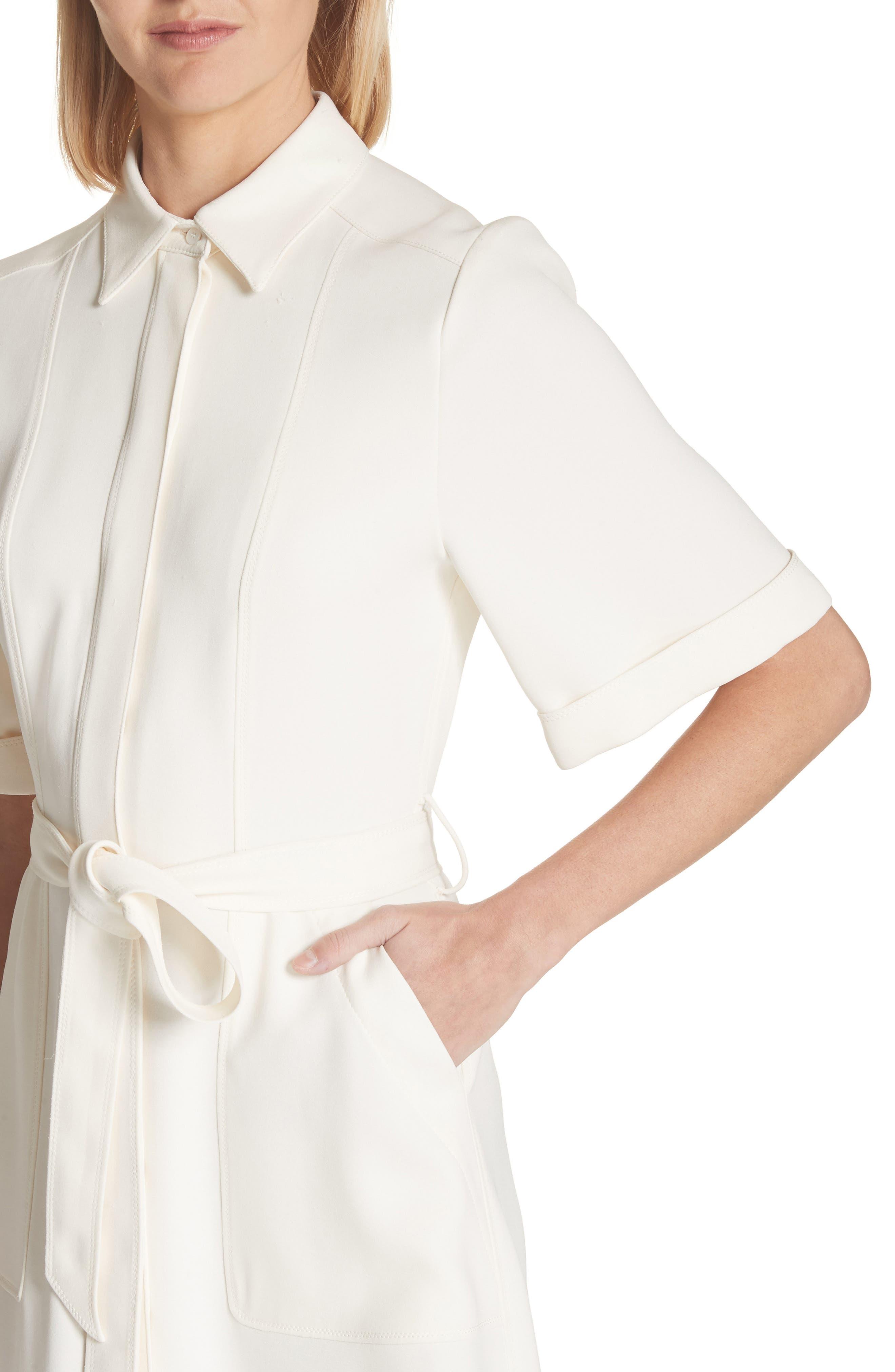 Carmen Belted Shirtdress,                             Alternate thumbnail 4, color,                             Off White