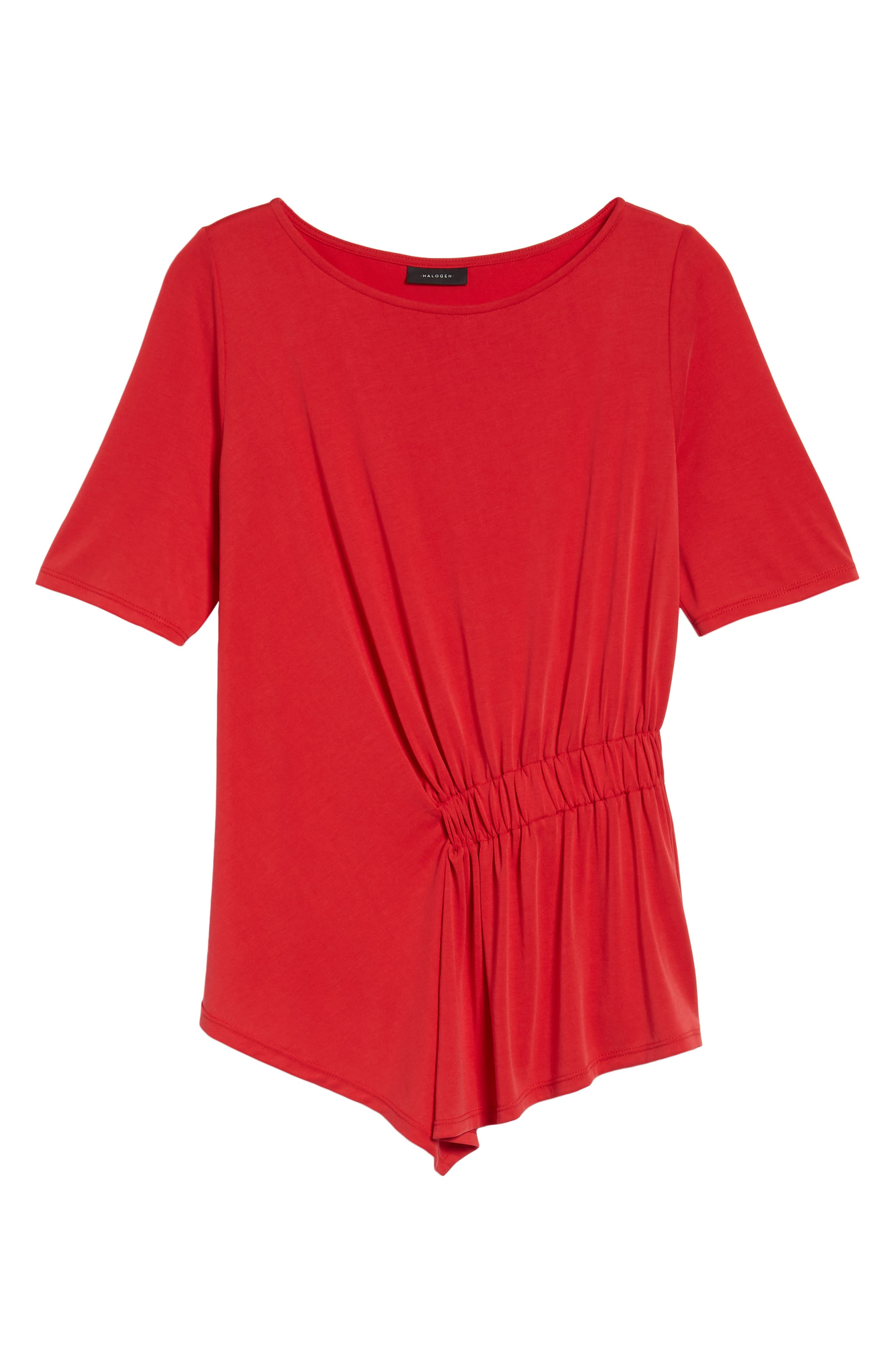 Ruched Waist Tee,                             Alternate thumbnail 6, color,                             Red