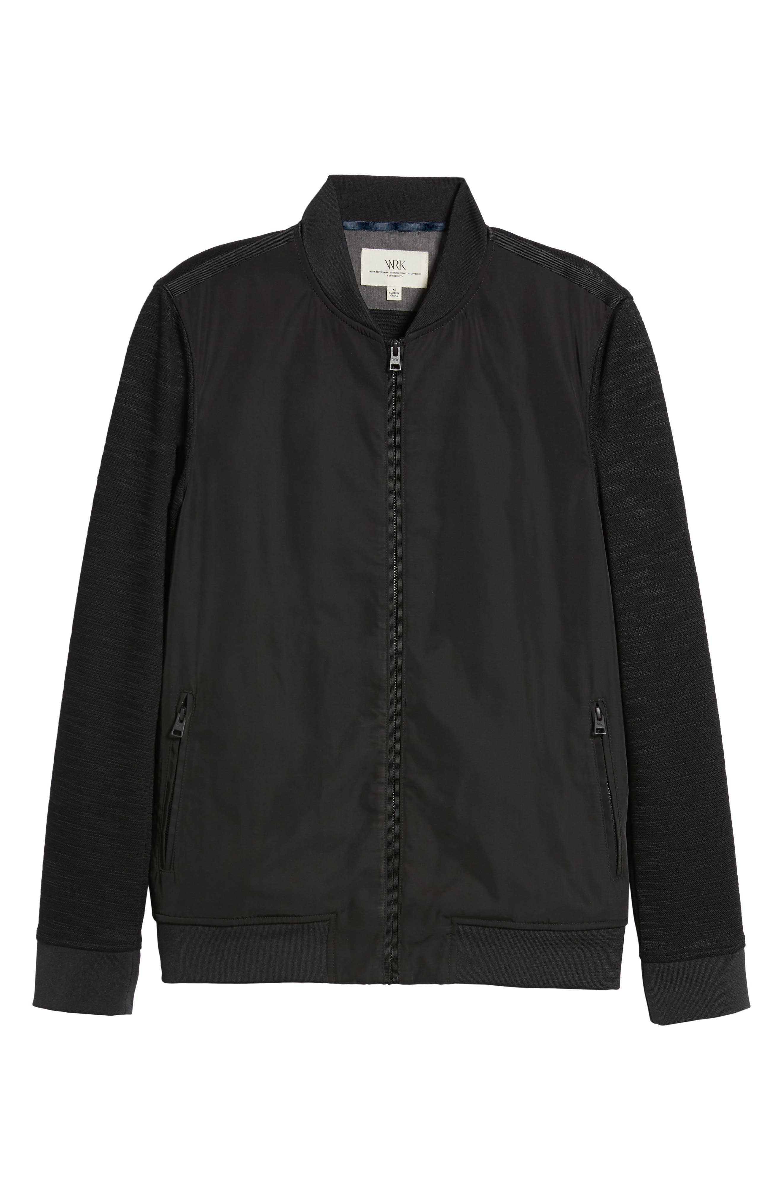 Gesso Slim Fit Bomber Jacket,                             Alternate thumbnail 6, color,                             Black