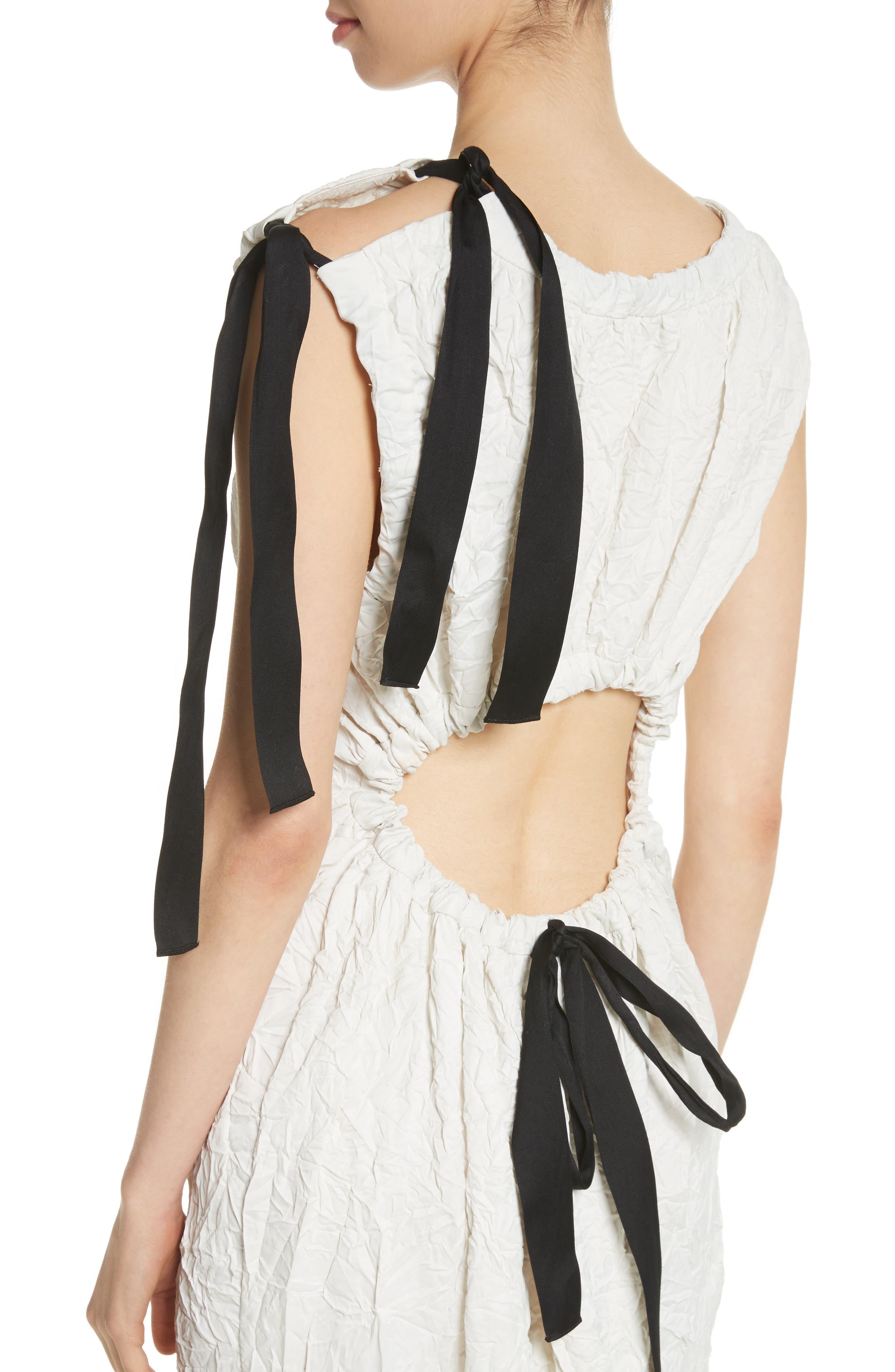 Cutout Drawstring Dress,                             Alternate thumbnail 4, color,                             Oyster