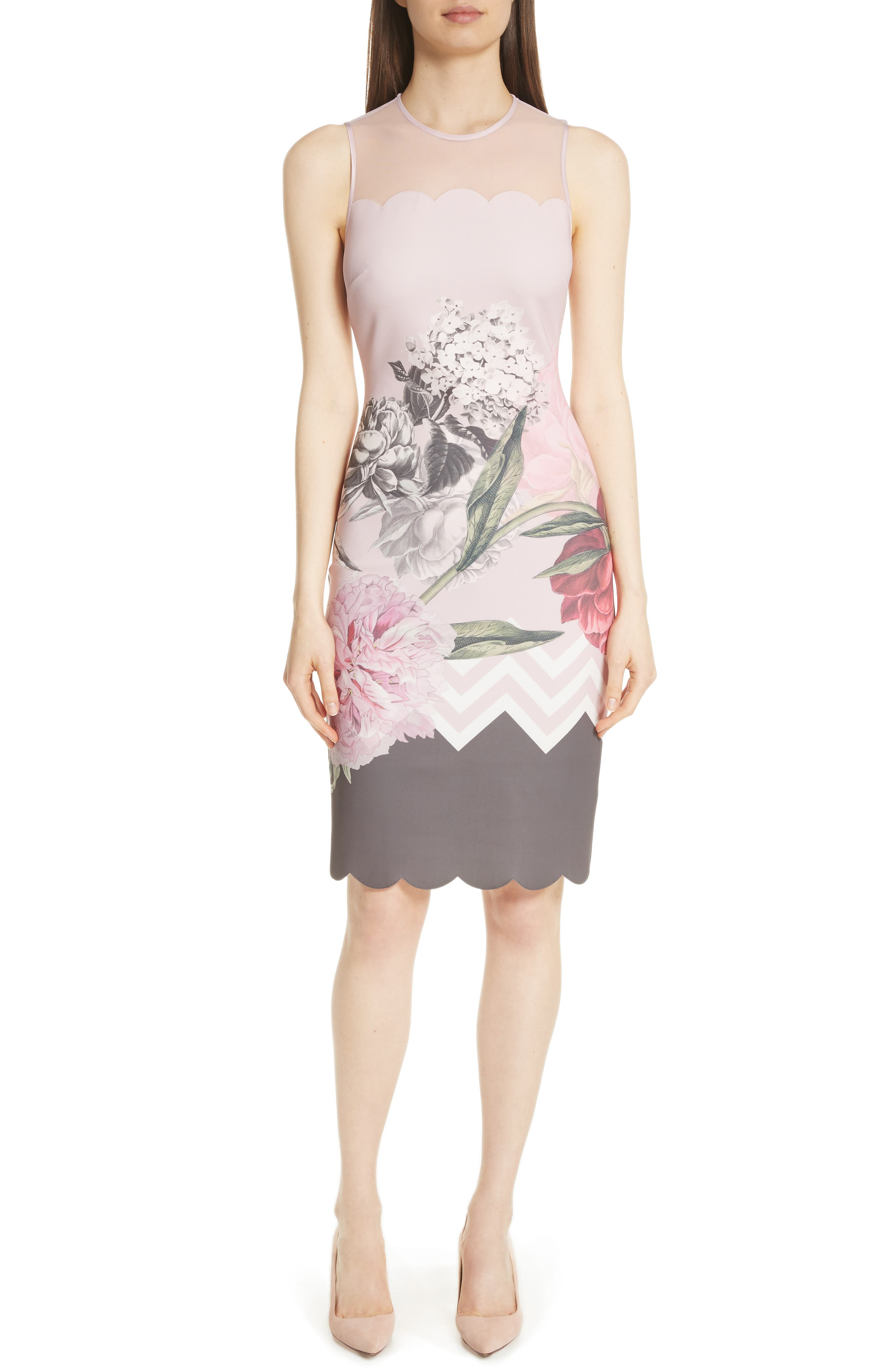 Palace Gardens Body-Con Dress,                             Main thumbnail 1, color,                             Dusky Pink