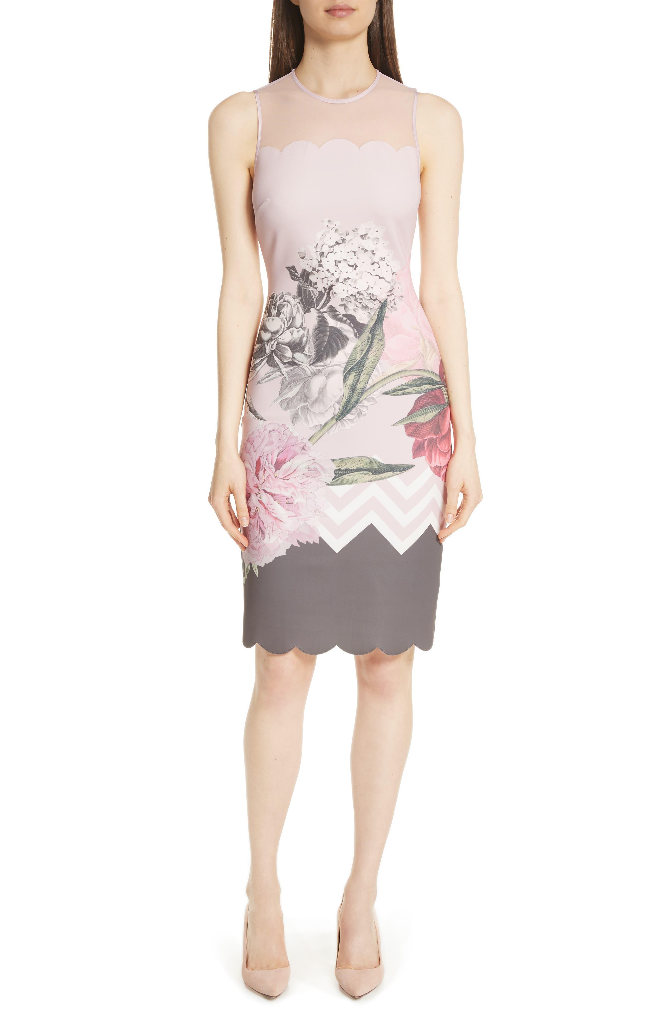 Palace Gardens Body-Con Dress,                         Main,                         color, Dusky Pink