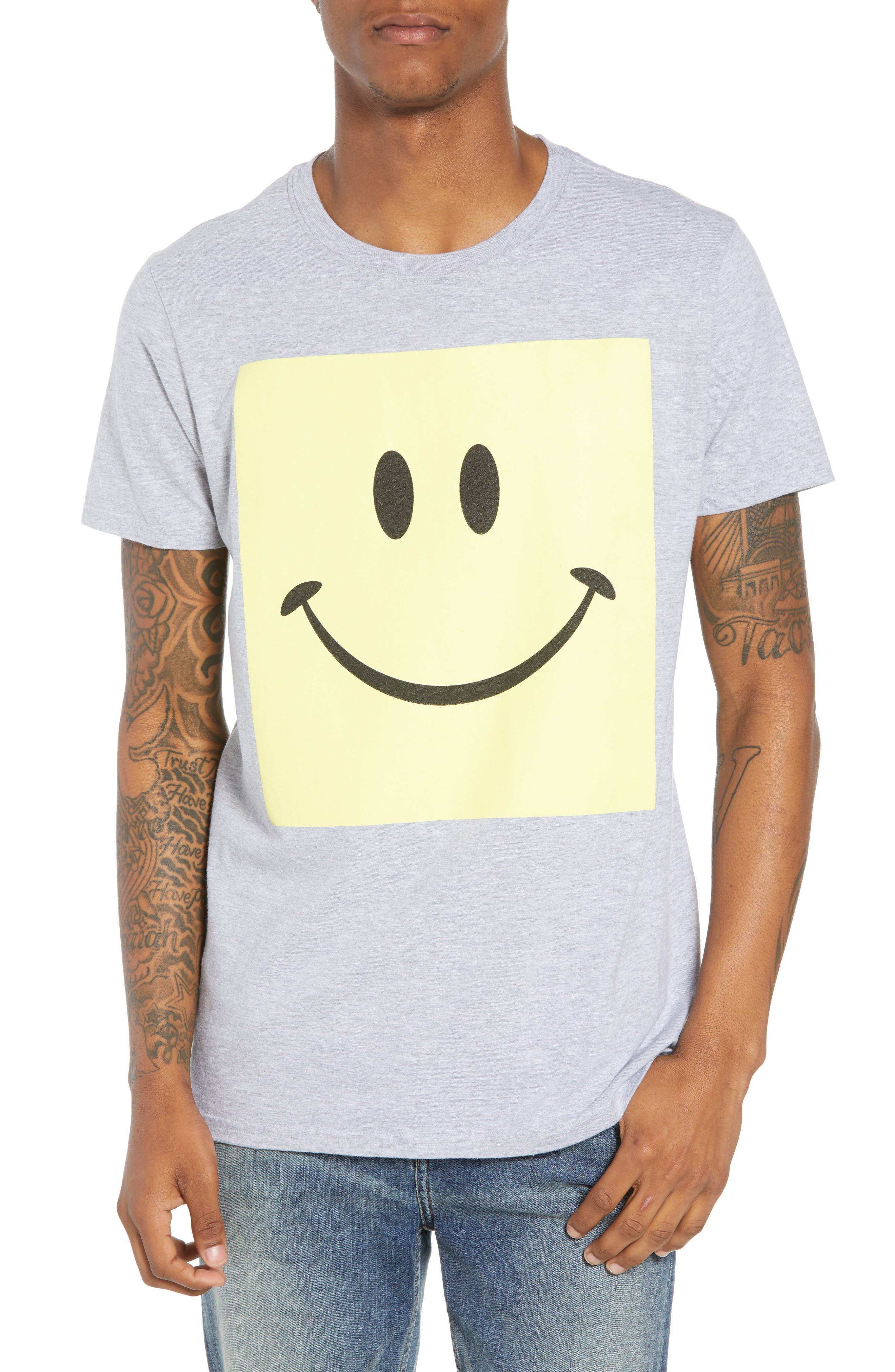 Box Smiley Graphic T-Shirt,                             Main thumbnail 1, color,                             Grey Heather Box Smile