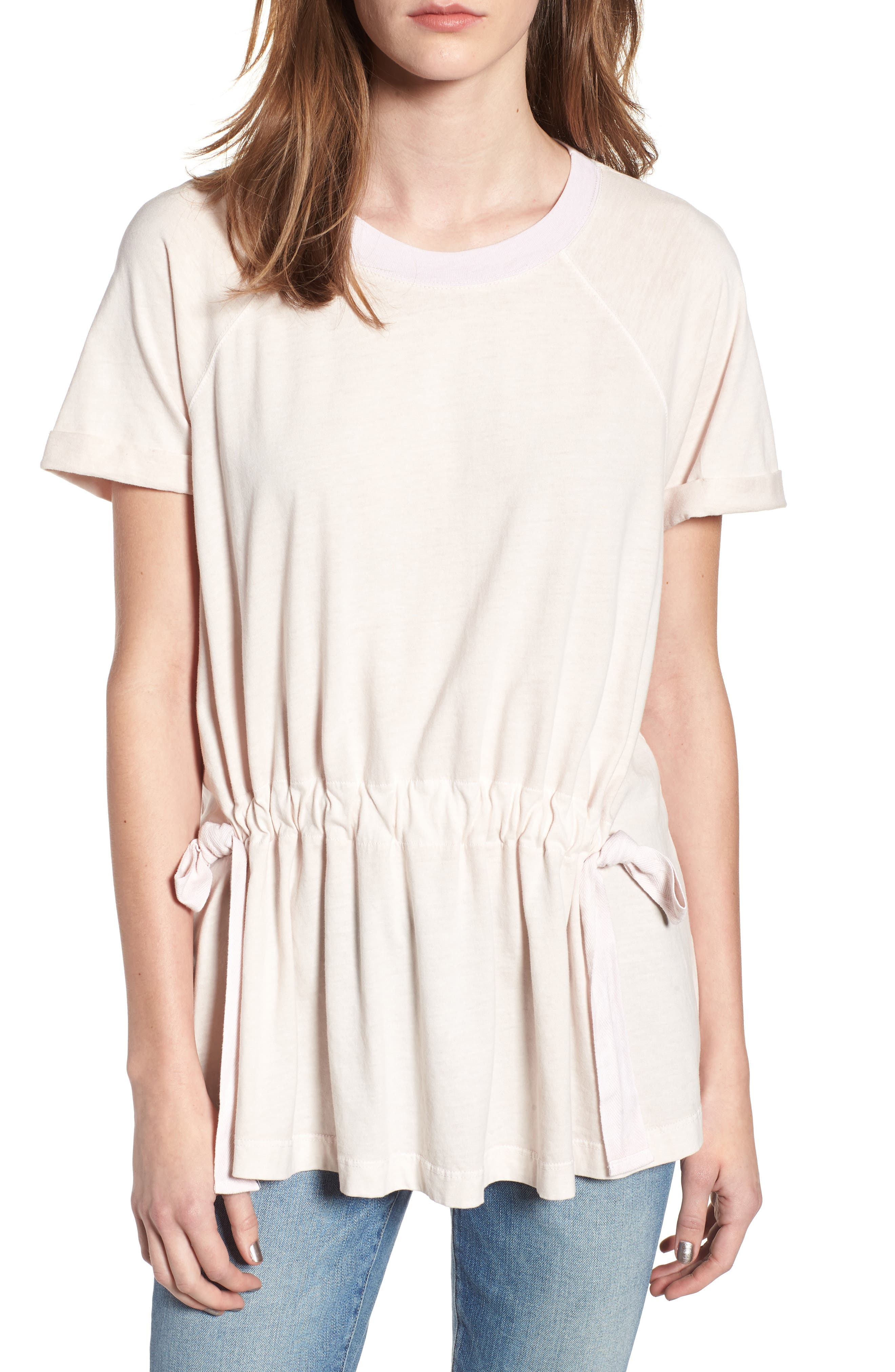 Gathered Jersey Tee,                         Main,                         color, Peach