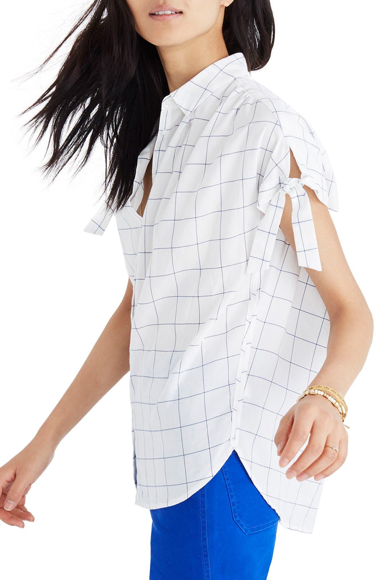 Central Windowpane Tie Sleeve Shirt,                             Alternate thumbnail 3, color,                             Alpha Blue