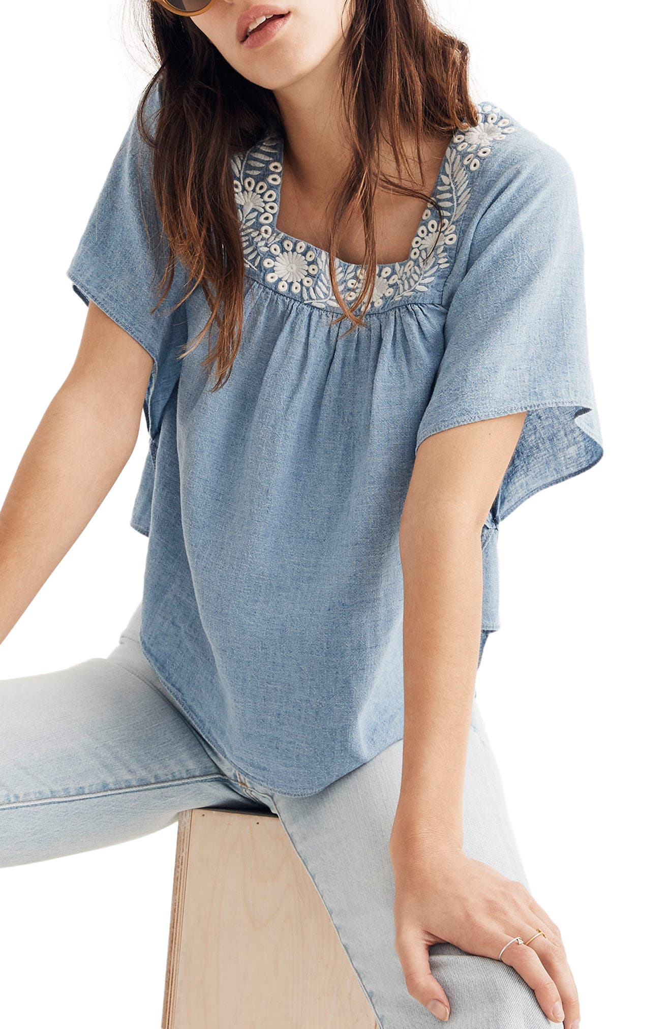 Madewell Embroidered Denim Butterfly Top