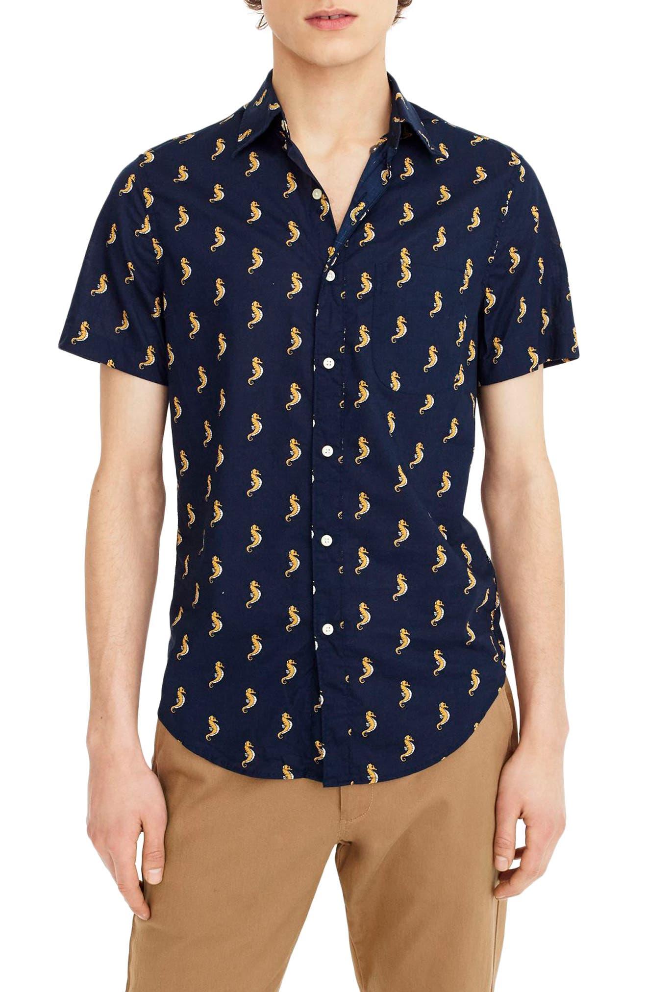 Slim Fit Secret Wash Short Sleeve Seahorse Print Sport Shirt,                         Main,                         color, Ciderwood Ink