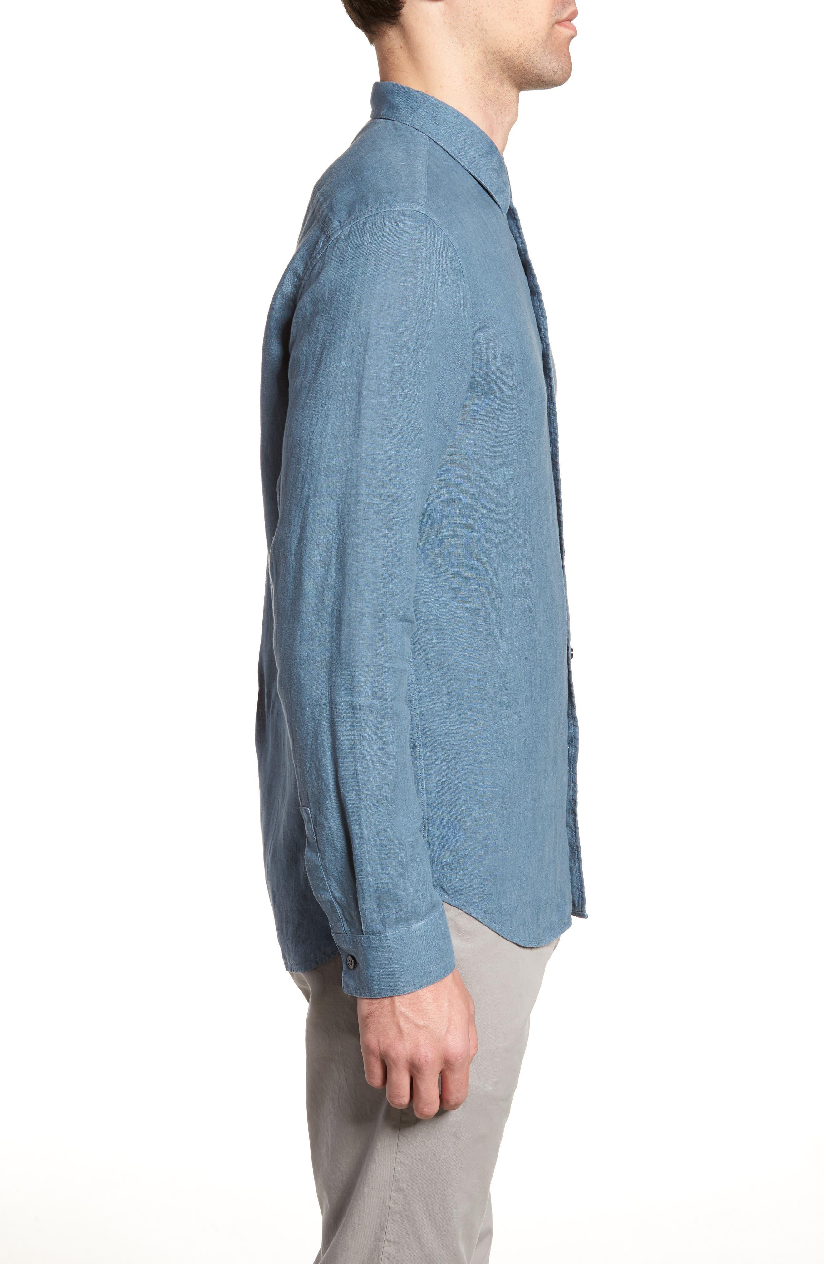 Irving Trim Fit Solid Linen Sport Shirt,                             Alternate thumbnail 4, color,                             Hydro