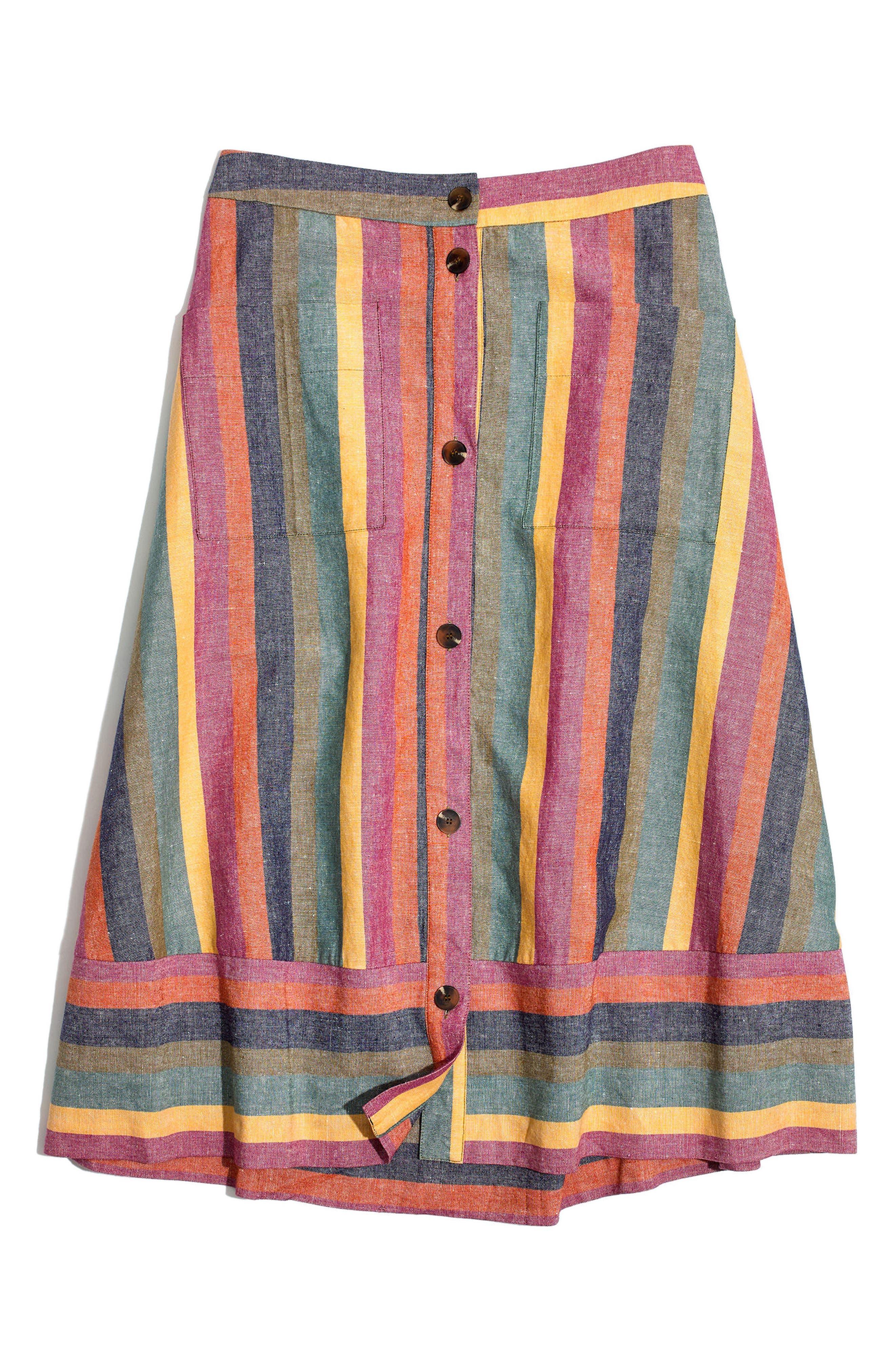 Rainbow Stripe Midi Skirt,                             Alternate thumbnail 4, color,                             Meadow Green
