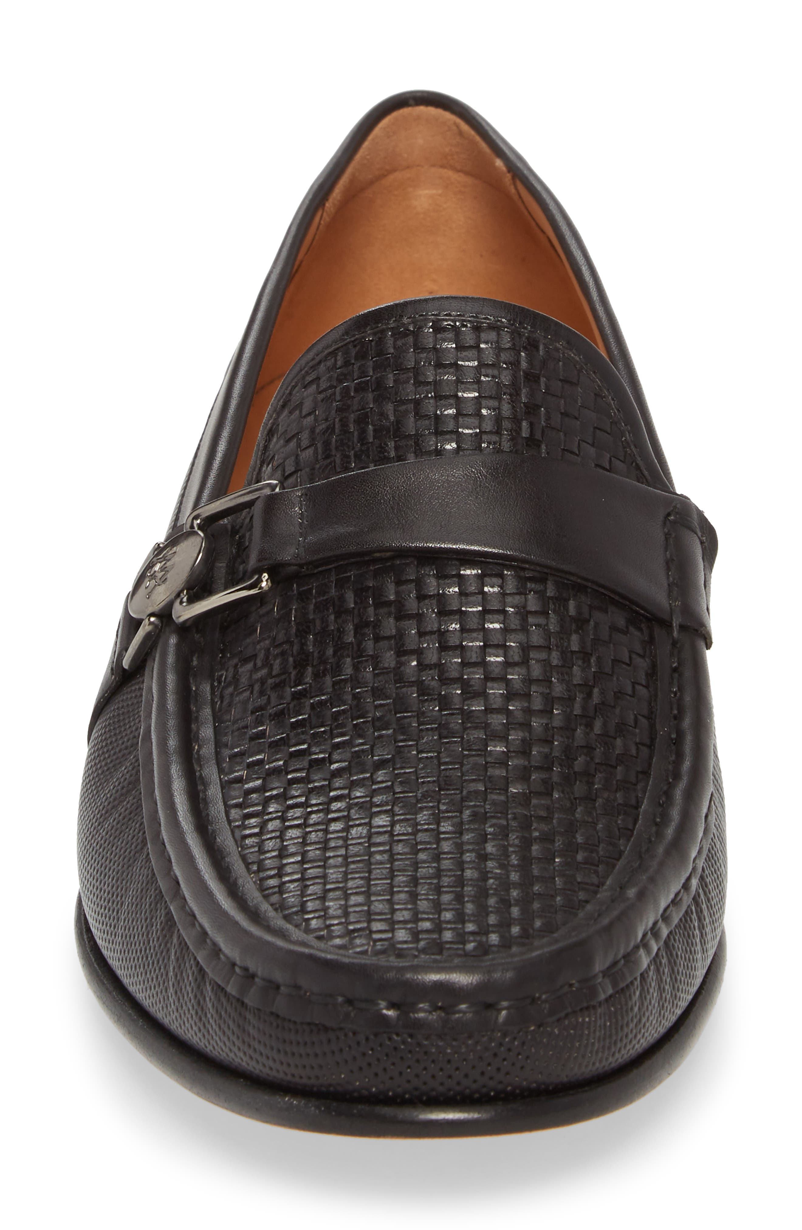 Horatio Woven Moc Toe Loafer,                             Alternate thumbnail 4, color,                             Black Leather