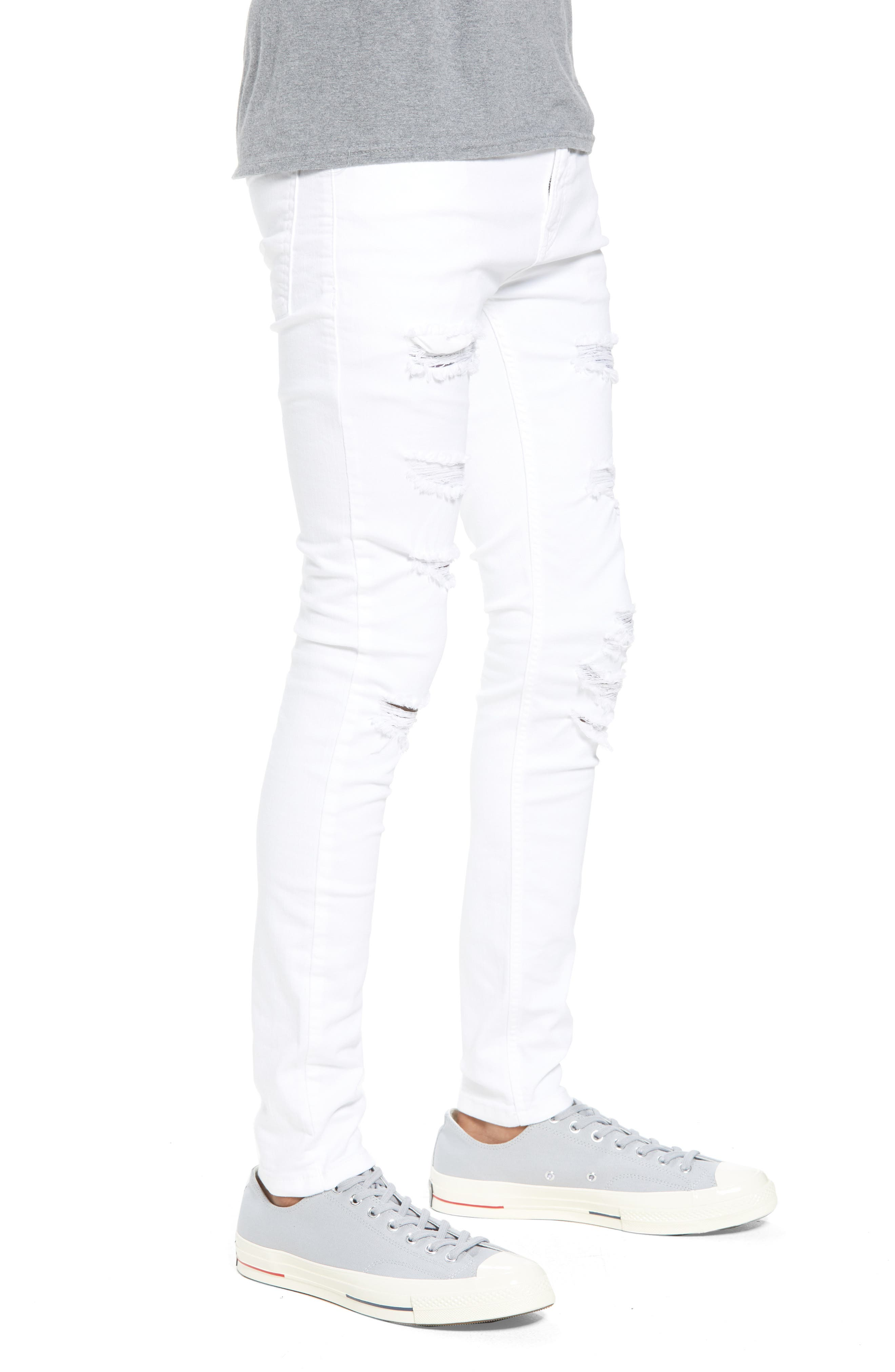 Skinny Spray On Ripped Jeans,                             Alternate thumbnail 3, color,                             White