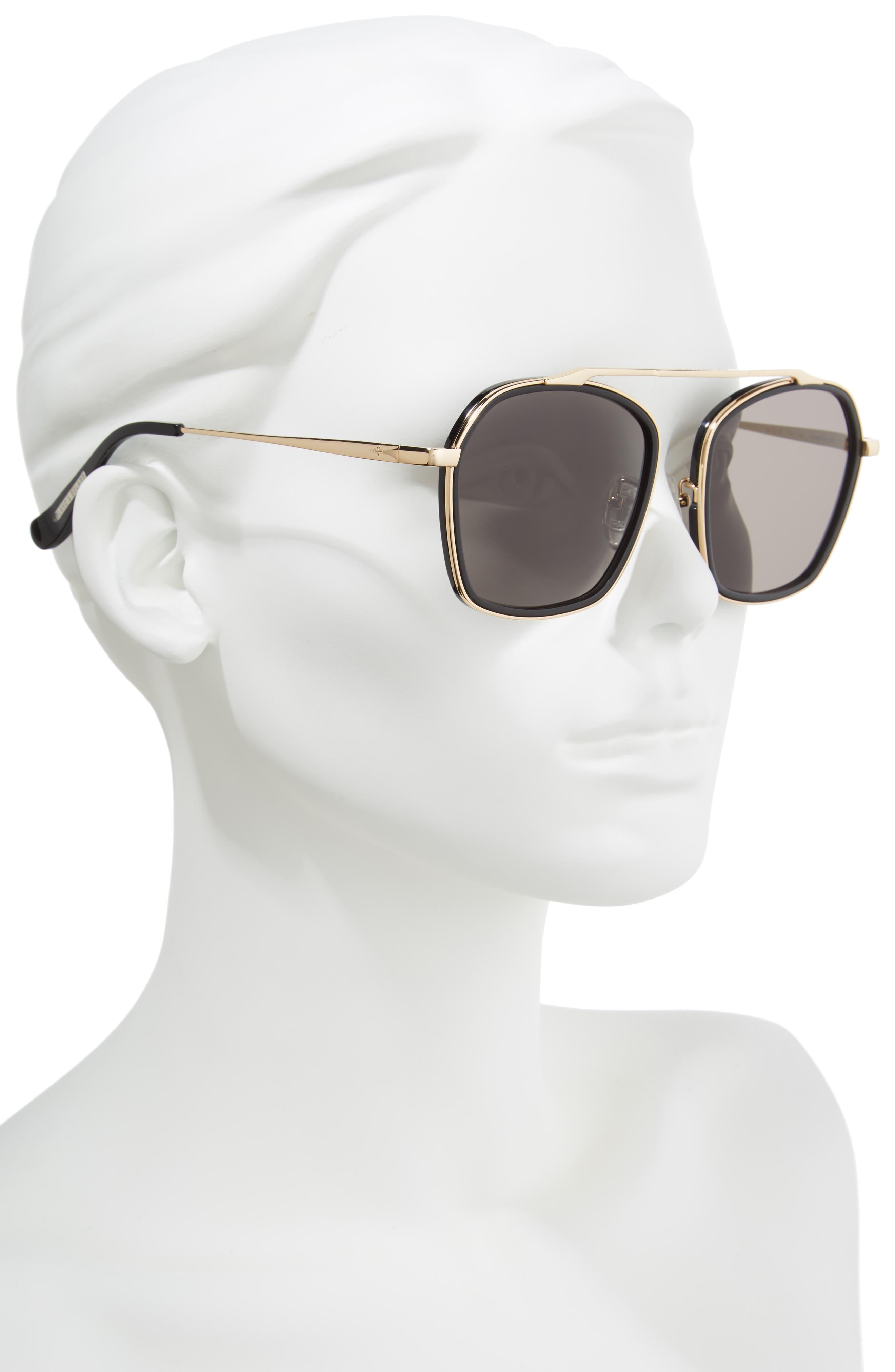 BLANC & ECLARE Vancouver 58mm Polarized Aviator Sunglasses,                             Alternate thumbnail 2, color,                             Black/ Gold/ Smog Grey
