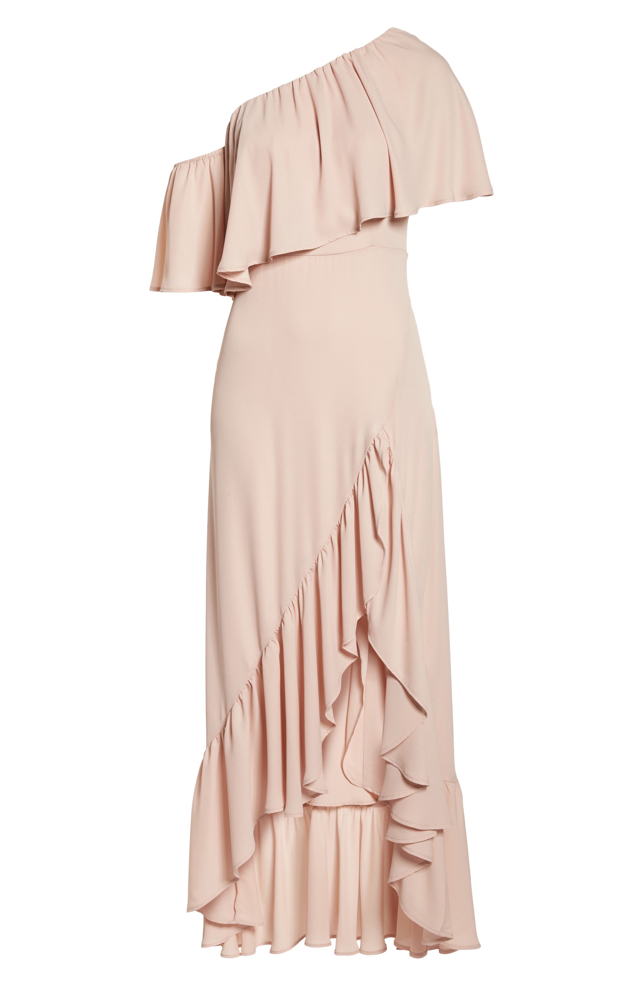 Tango Ruffle Gown,                             Alternate thumbnail 6, color,                             Dusty Blush Crisp