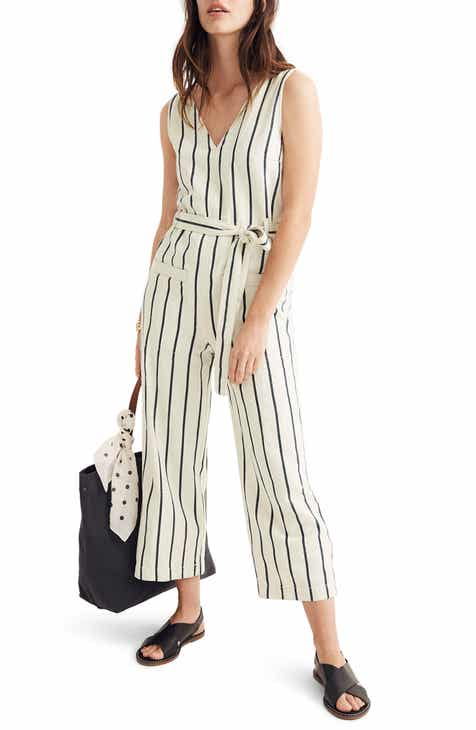 All in Favor Tie Waist Linen Blend Romper by ALL IN FAVOR