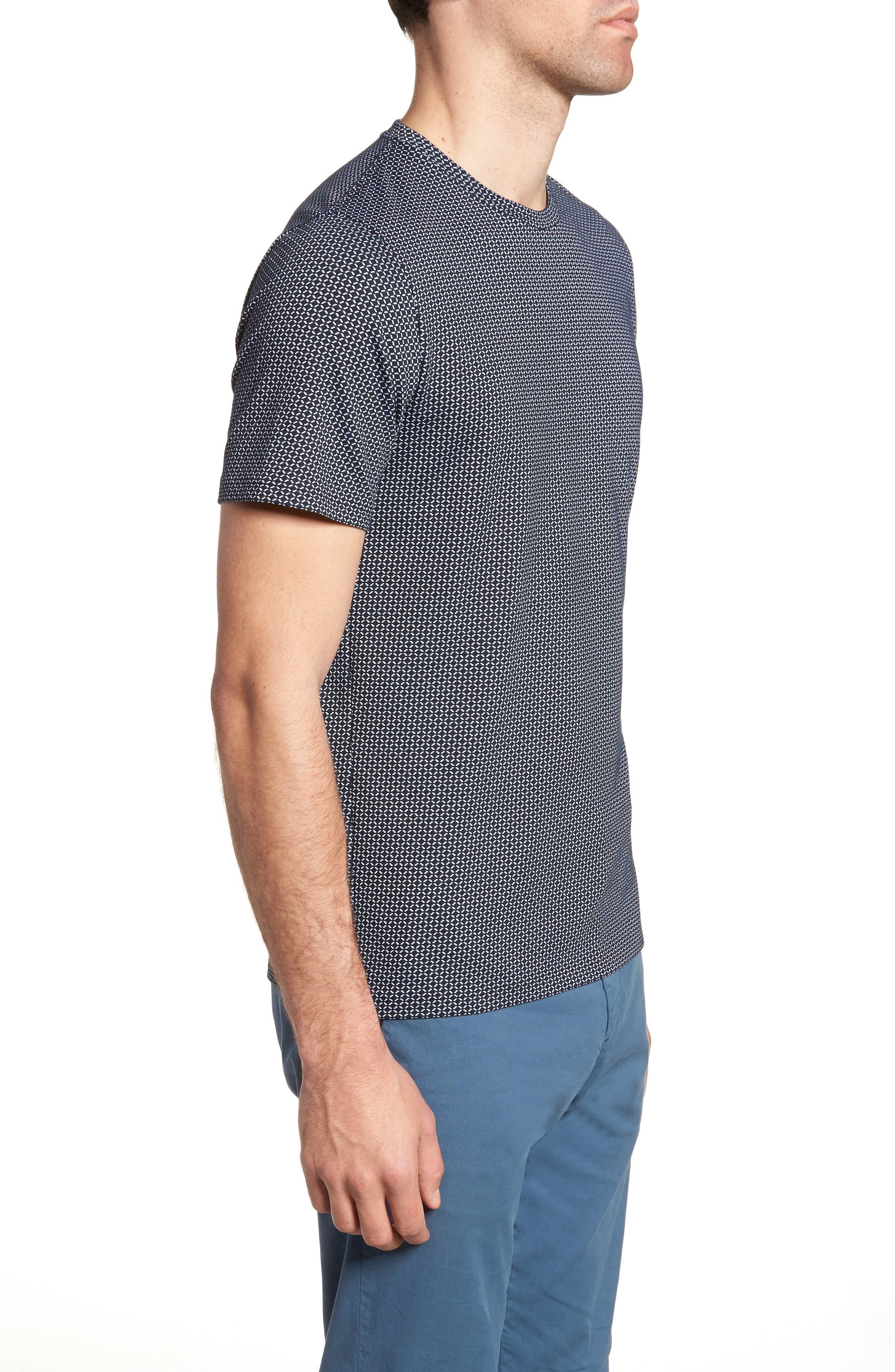Sillar Print Crewneck T-Shirt,                             Alternate thumbnail 3, color,                             Eclipse/ White