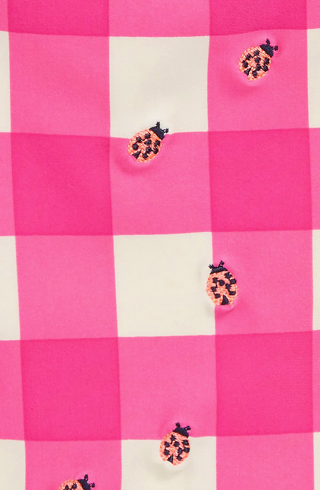 Embroidered Ladybug Gingham One-Piece Swimsuit,                             Alternate thumbnail 2, color,                             Hot Pink