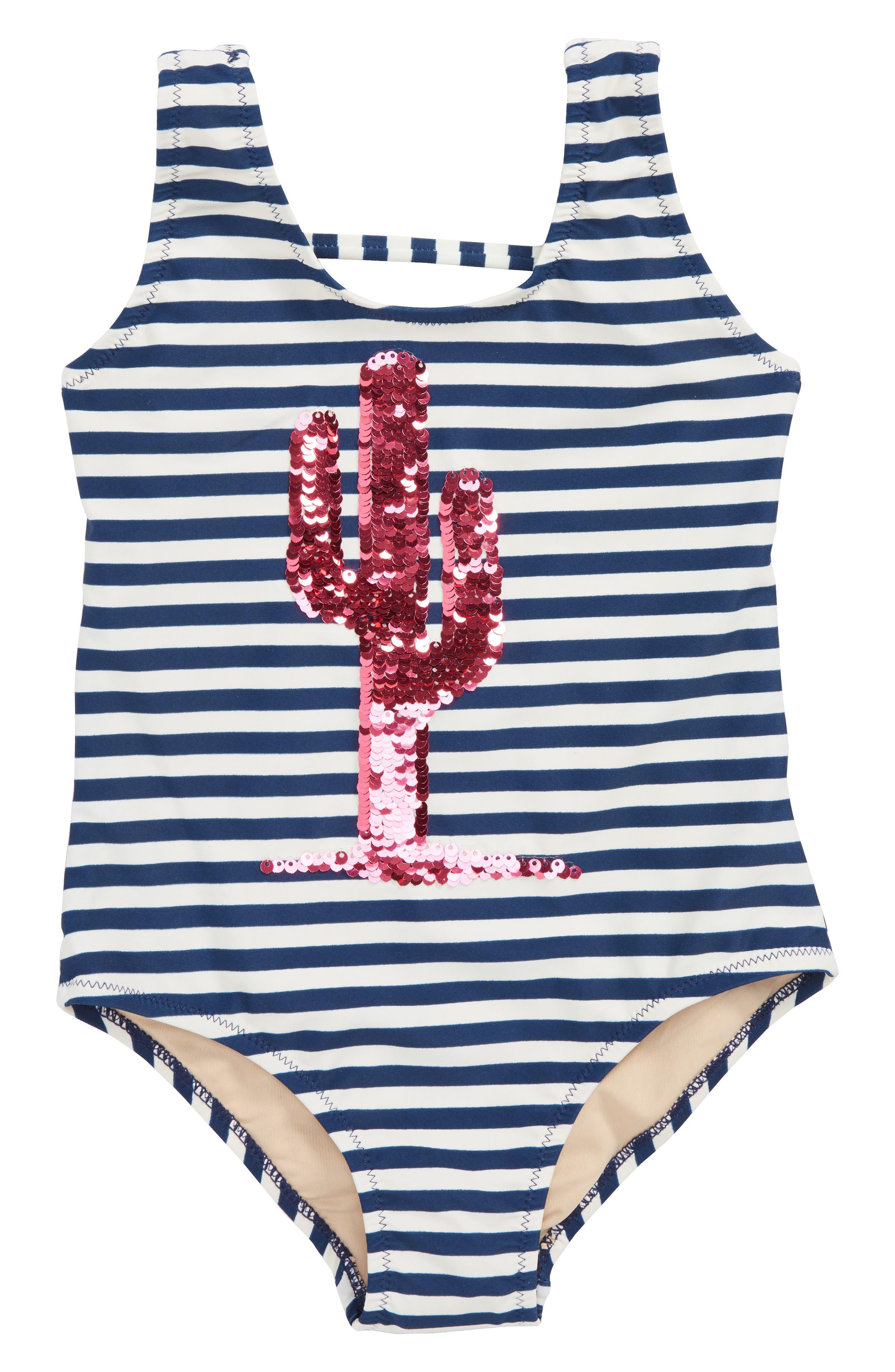 Flip Sequin Cactus One-Piece Swimsuit,                             Alternate thumbnail 4, color,                             Magenta