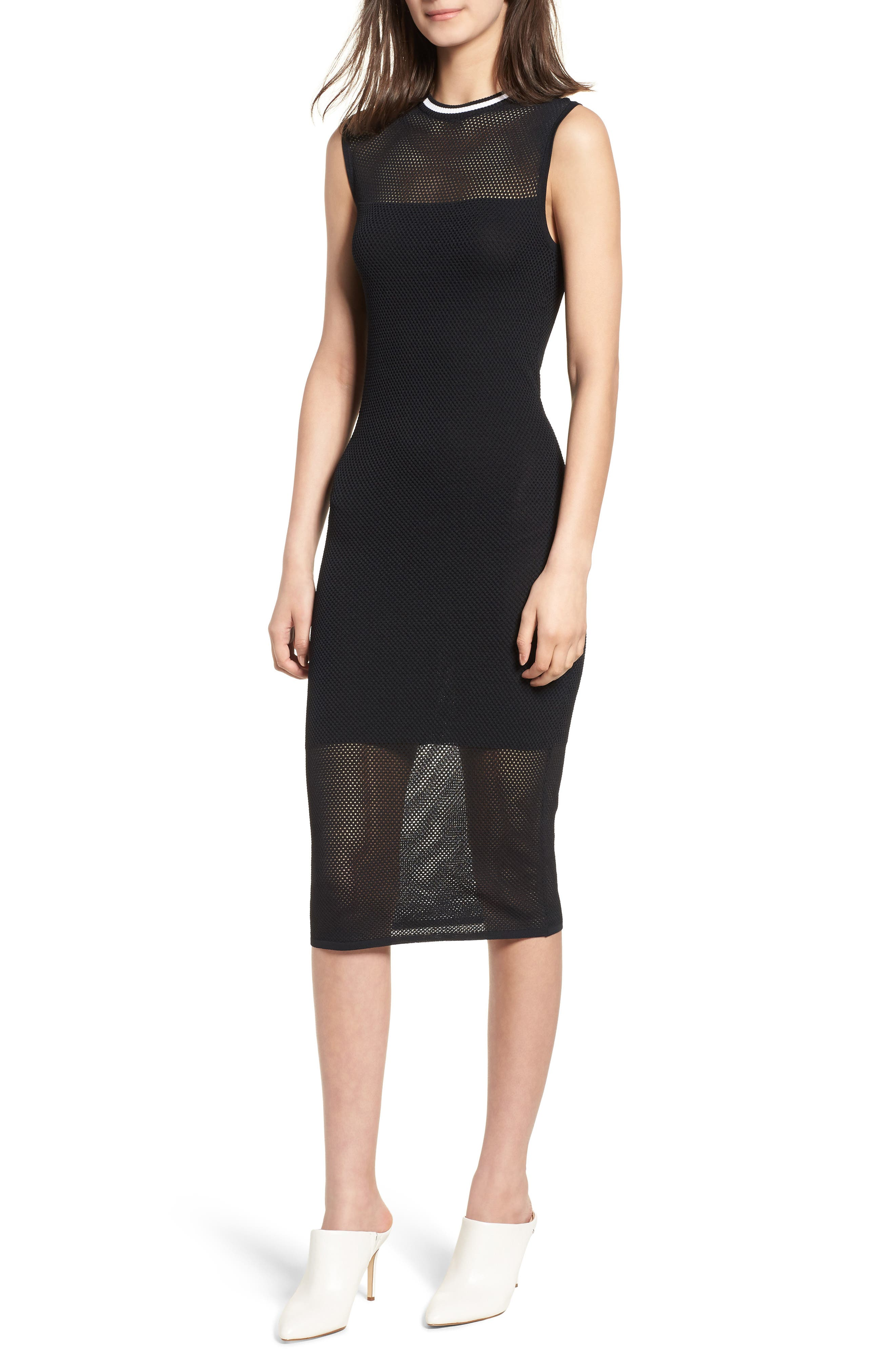 Stripe Mesh Midi Dress,                             Main thumbnail 1, color,                             Black