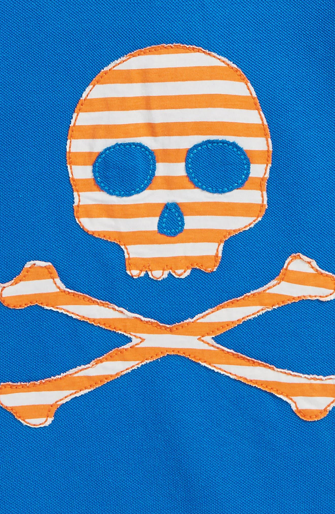 Skull Piqué Polo,                             Alternate thumbnail 3, color,                             Yogo Blue Skull