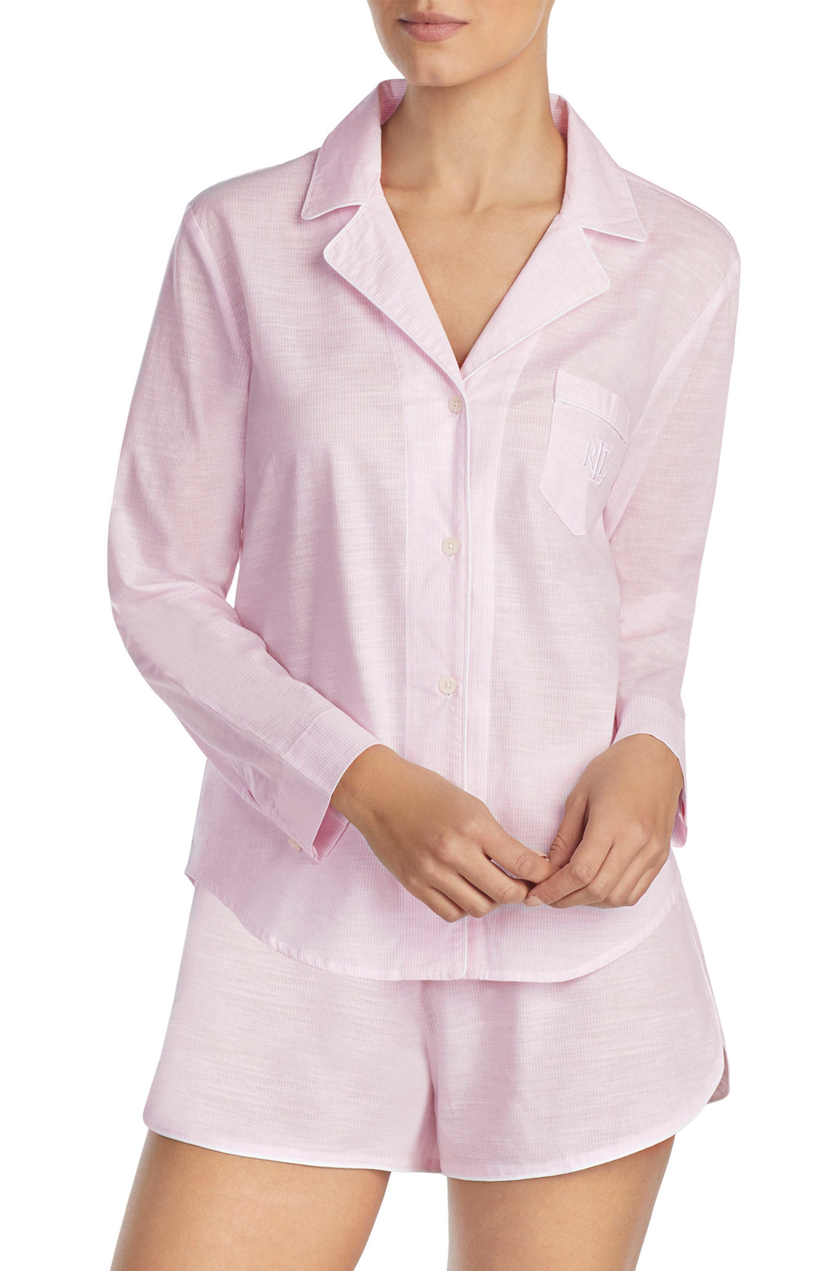 Short Pajamas,                             Main thumbnail 1, color,                             Pink Stripe