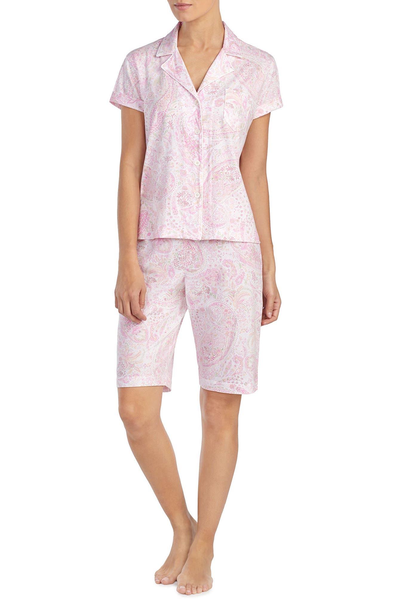 Short Pajamas,                             Main thumbnail 1, color,                             Pink Print