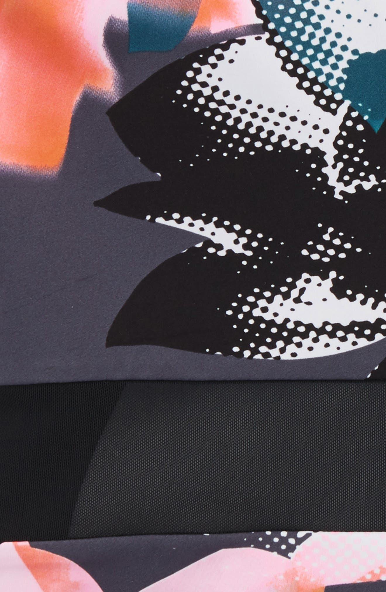 Horizon Mesh Inset One-Piece Swimsuit,                             Alternate thumbnail 3, color,                             Black Halftone Floral