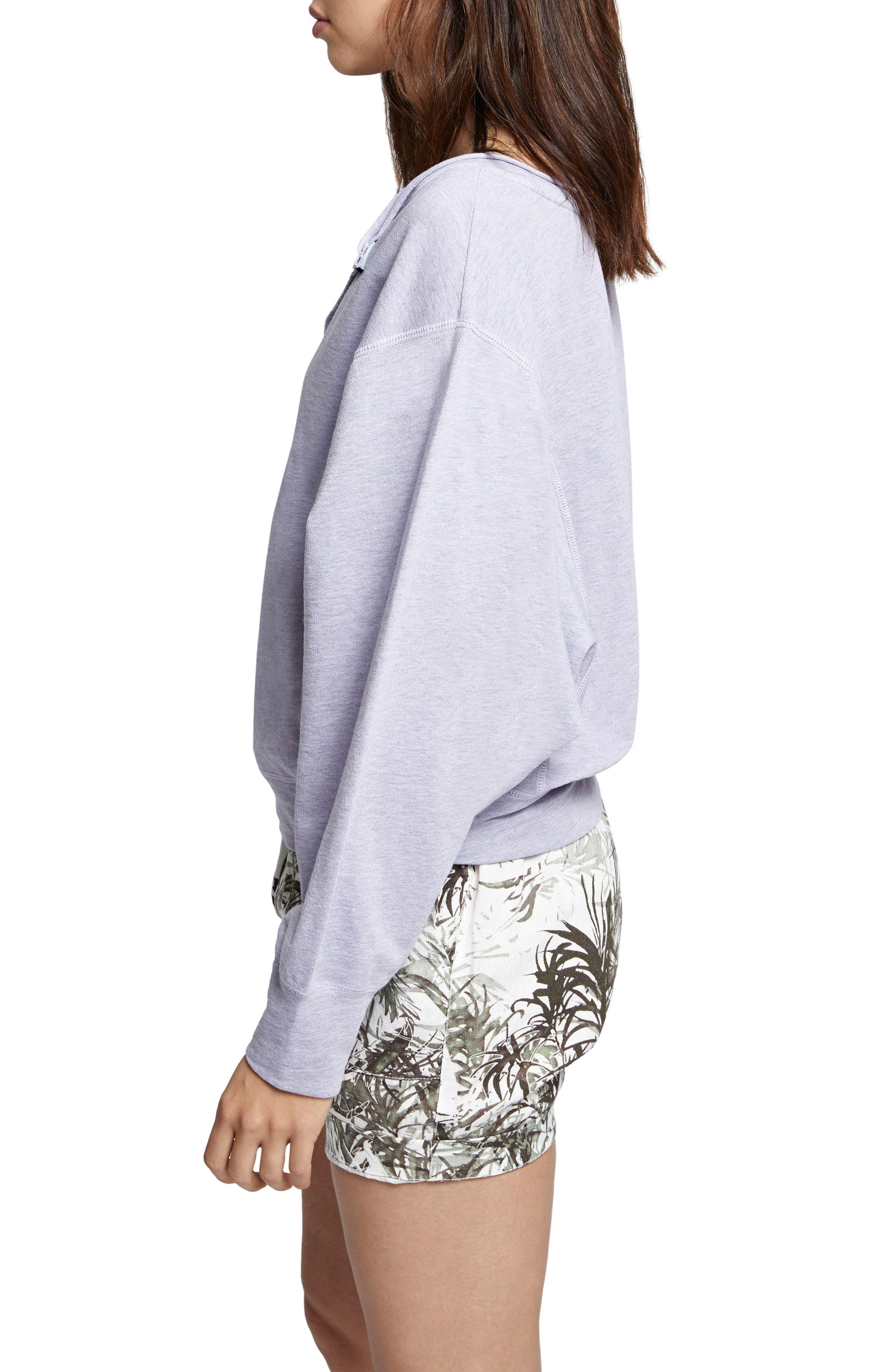 Breslin Split Neck Sweatshirt,                             Alternate thumbnail 3, color,                             Orchid