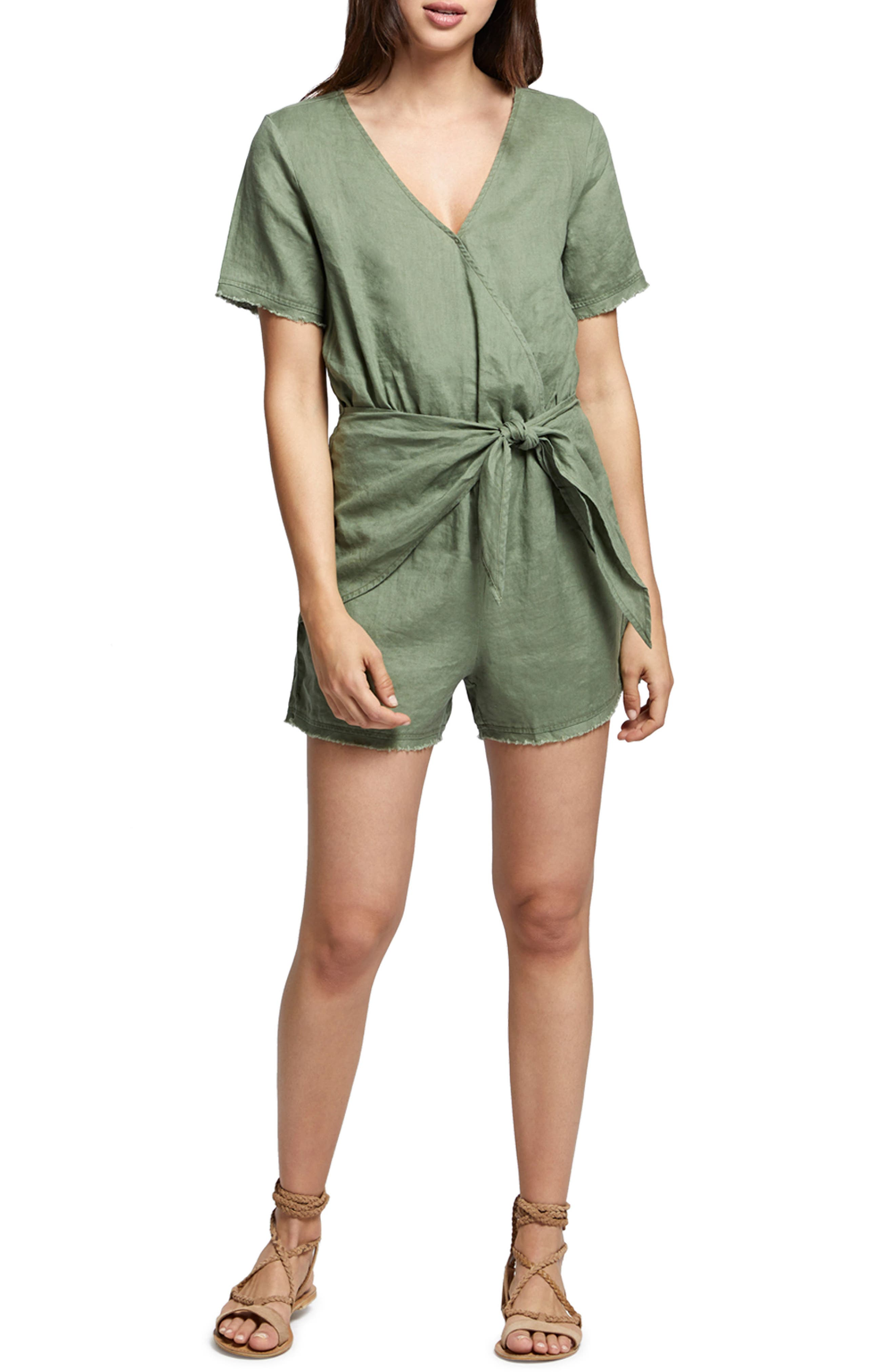 Date Palm Linen Romper,                             Main thumbnail 1, color,                             Cadet