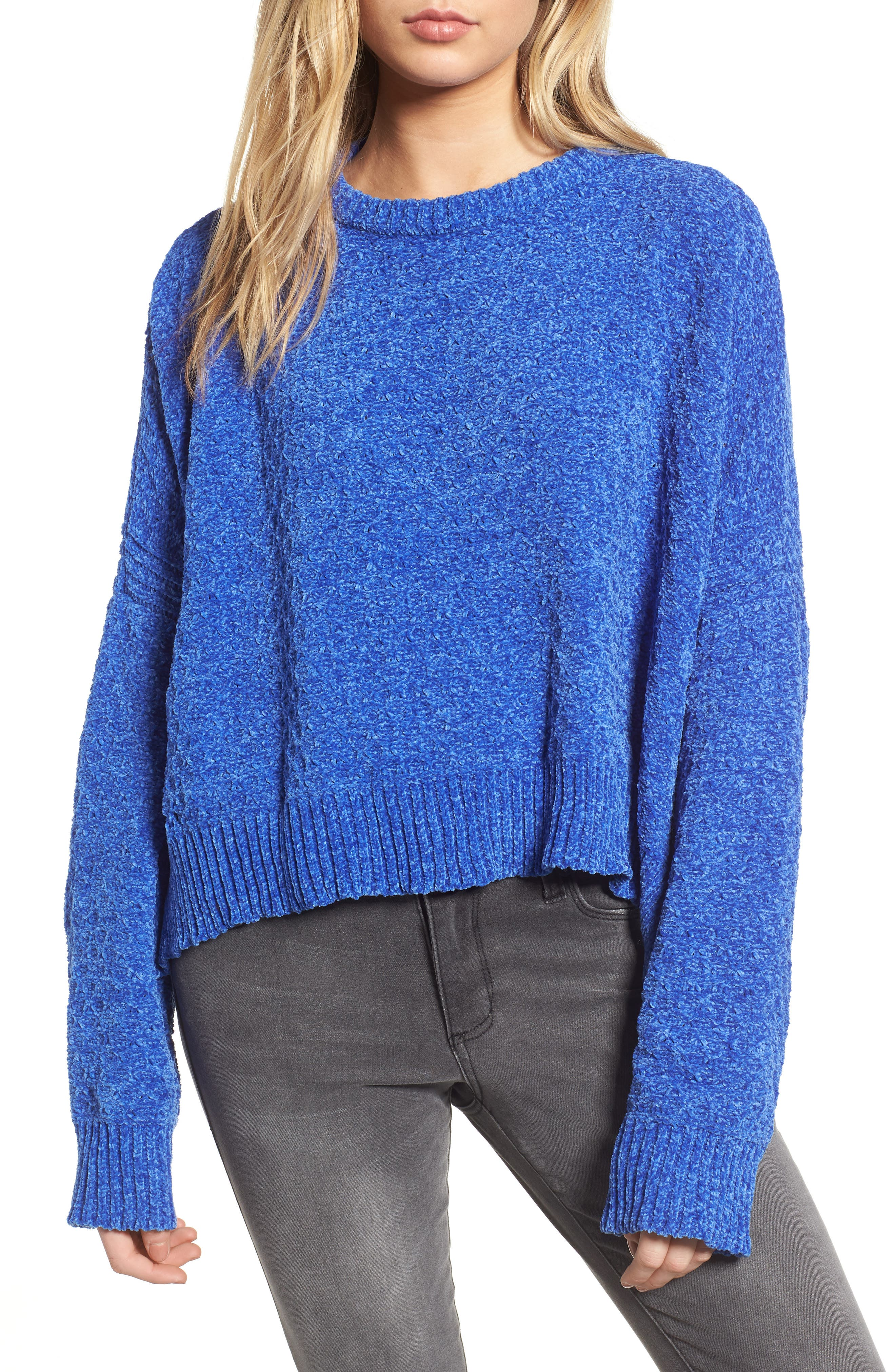 Chenille Sweater,                         Main,                         color, Electric Blue