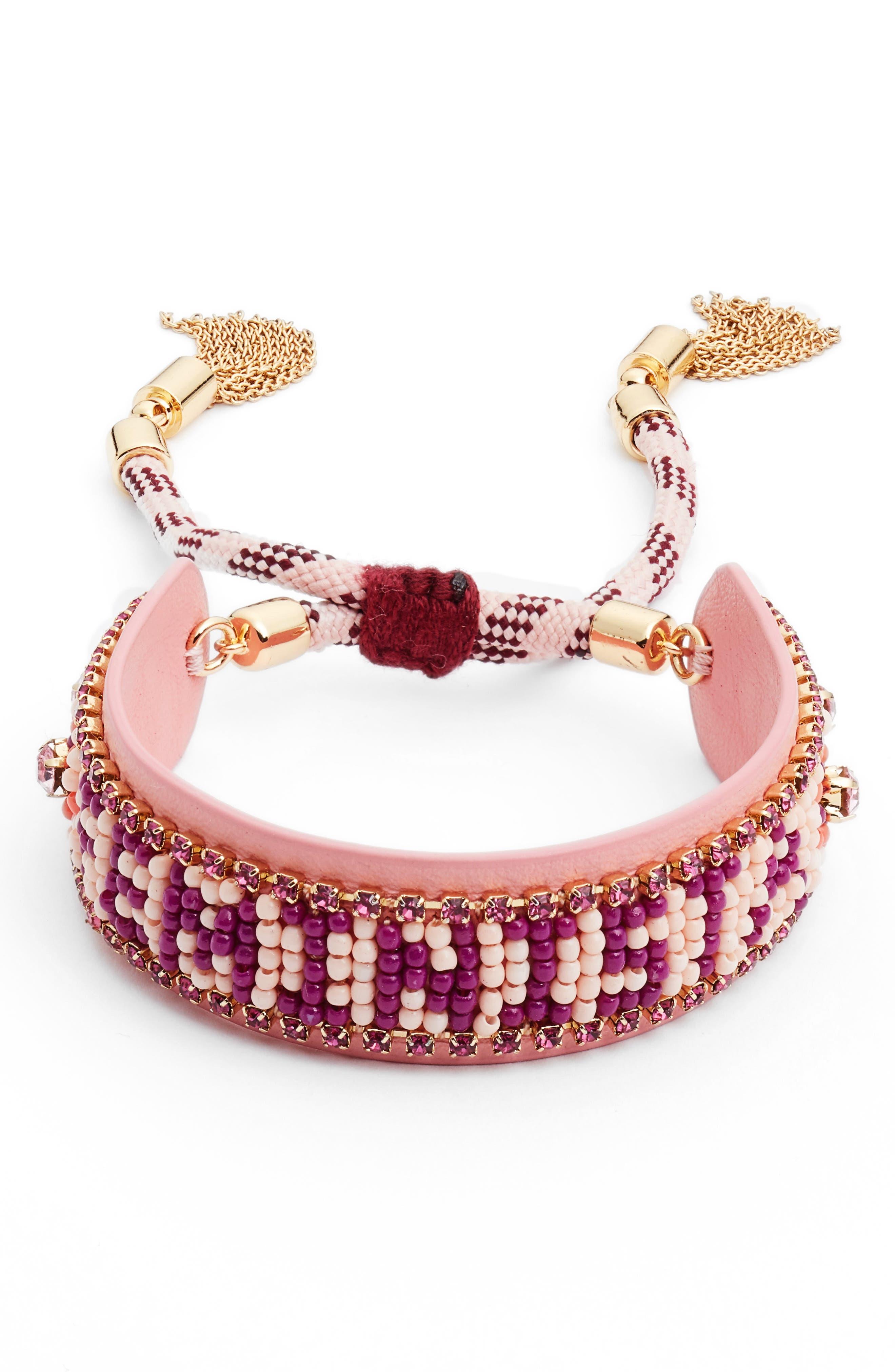Feminista Friendship Bracelet,                         Main,                         color, Pink Multi