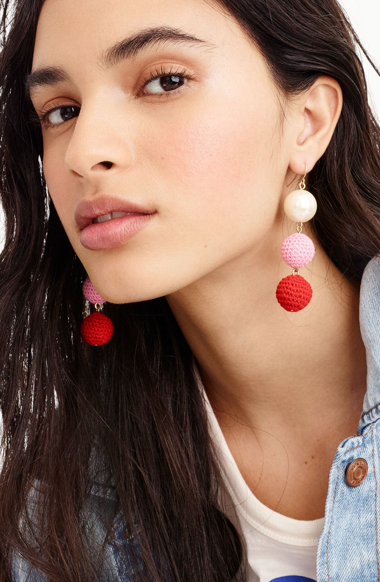 J.Crew Crochet Ball and Imitation Pearl Drop Earrings,                             Alternate thumbnail 3, color,