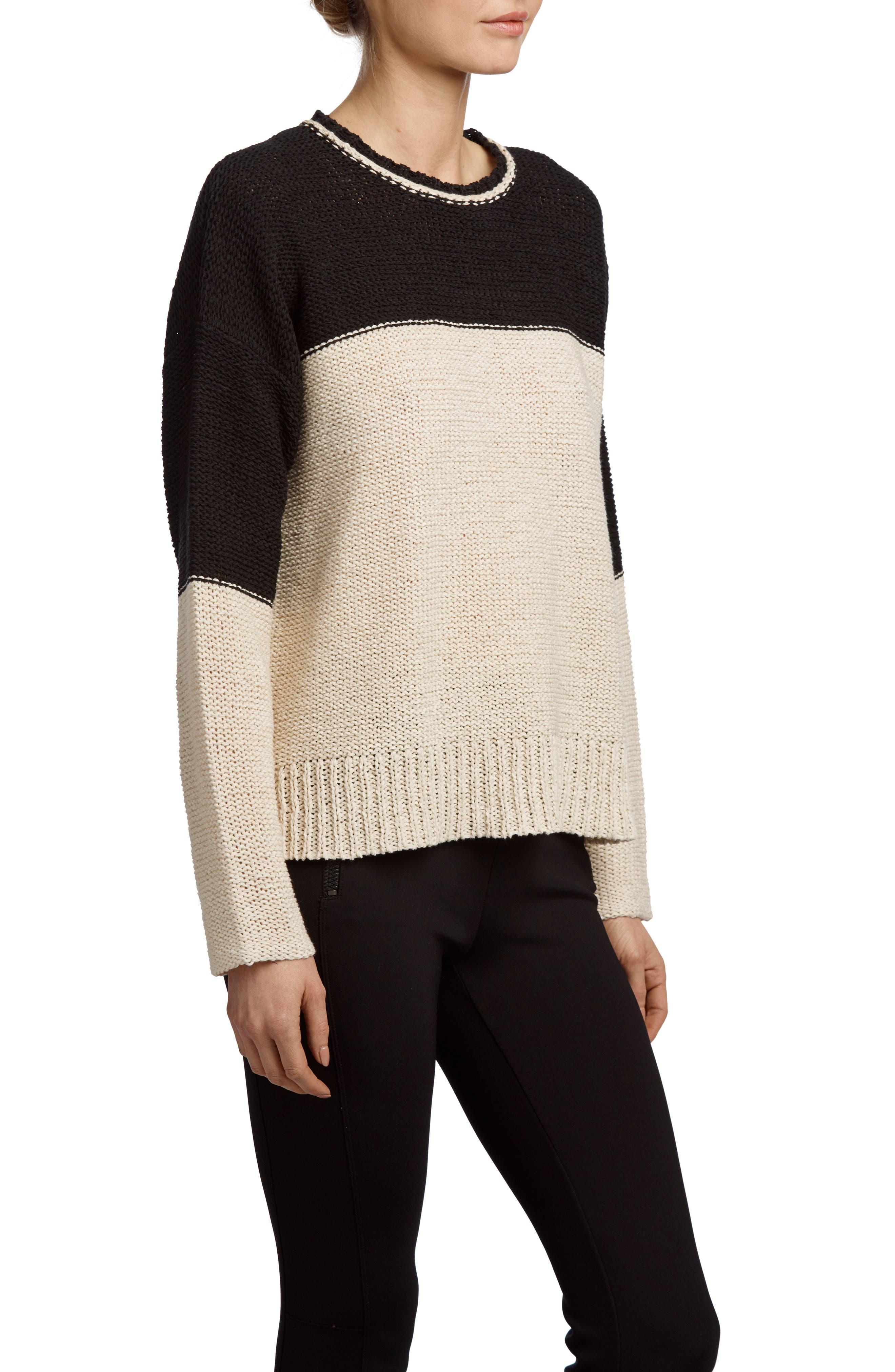 Crewneck Sweater,                             Alternate thumbnail 3, color,                             Natural/ Black