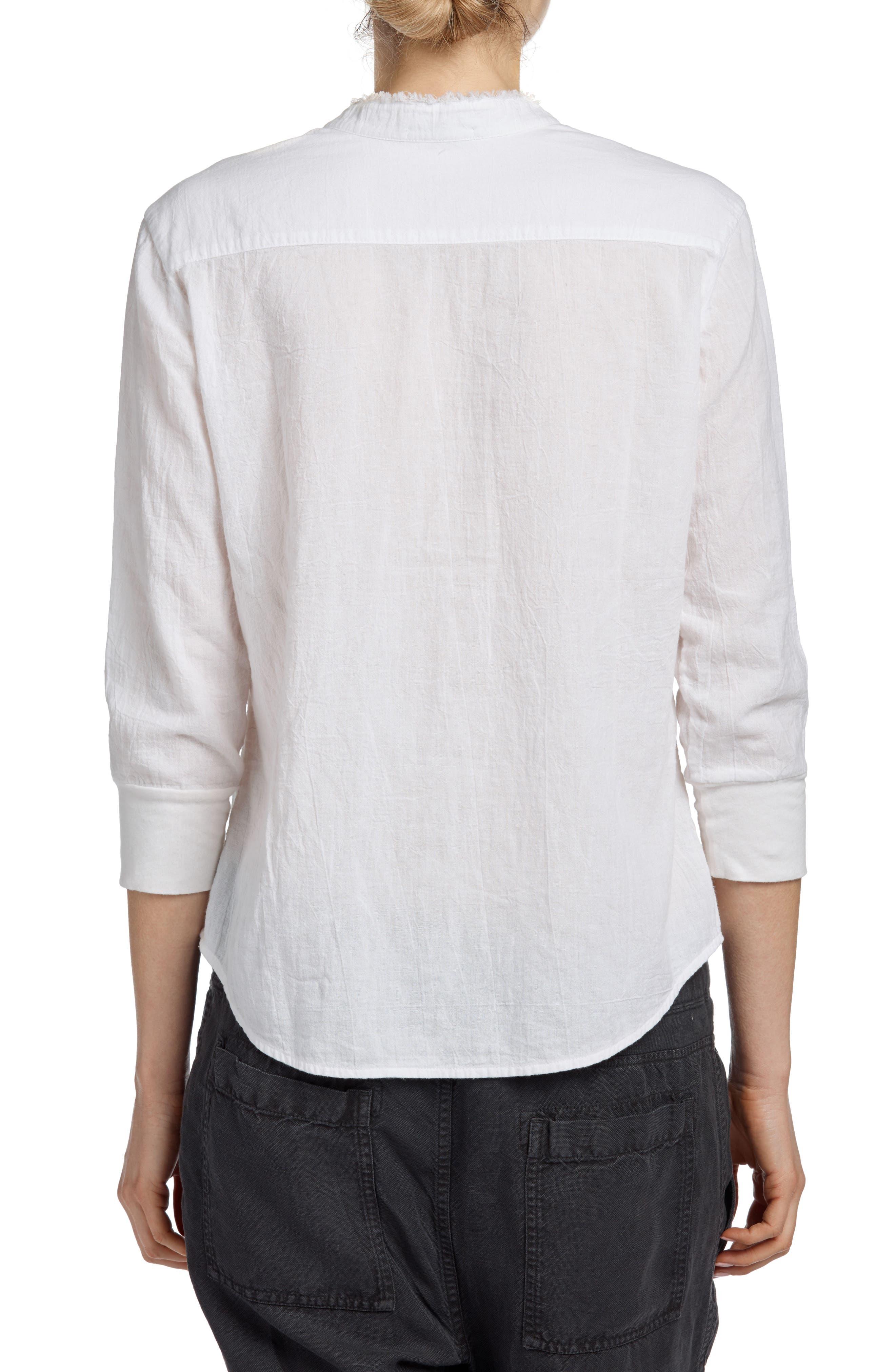 Frayed Collar Long Sleeve Shirt,                             Alternate thumbnail 2, color,                             White