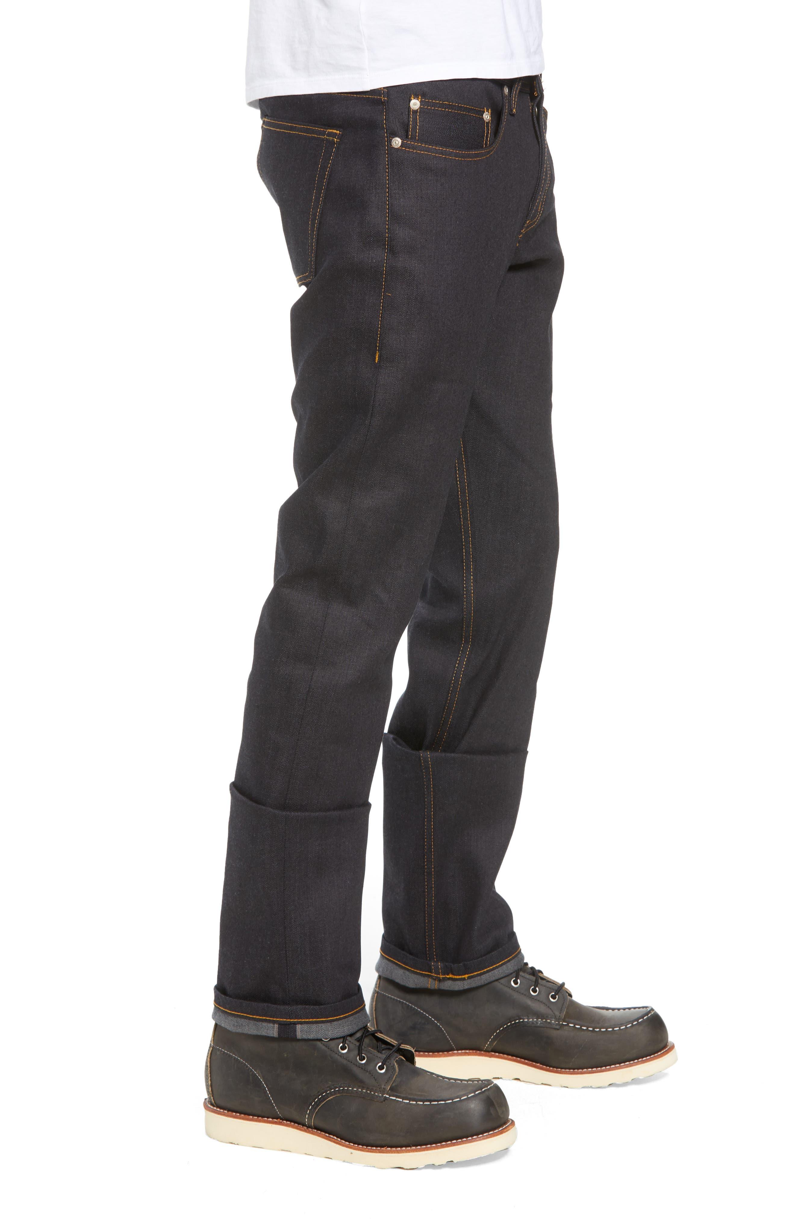 Weird Guy Slim Fit Jeans,                             Alternate thumbnail 3, color,                             Deep Indigo Stretch Selvedge