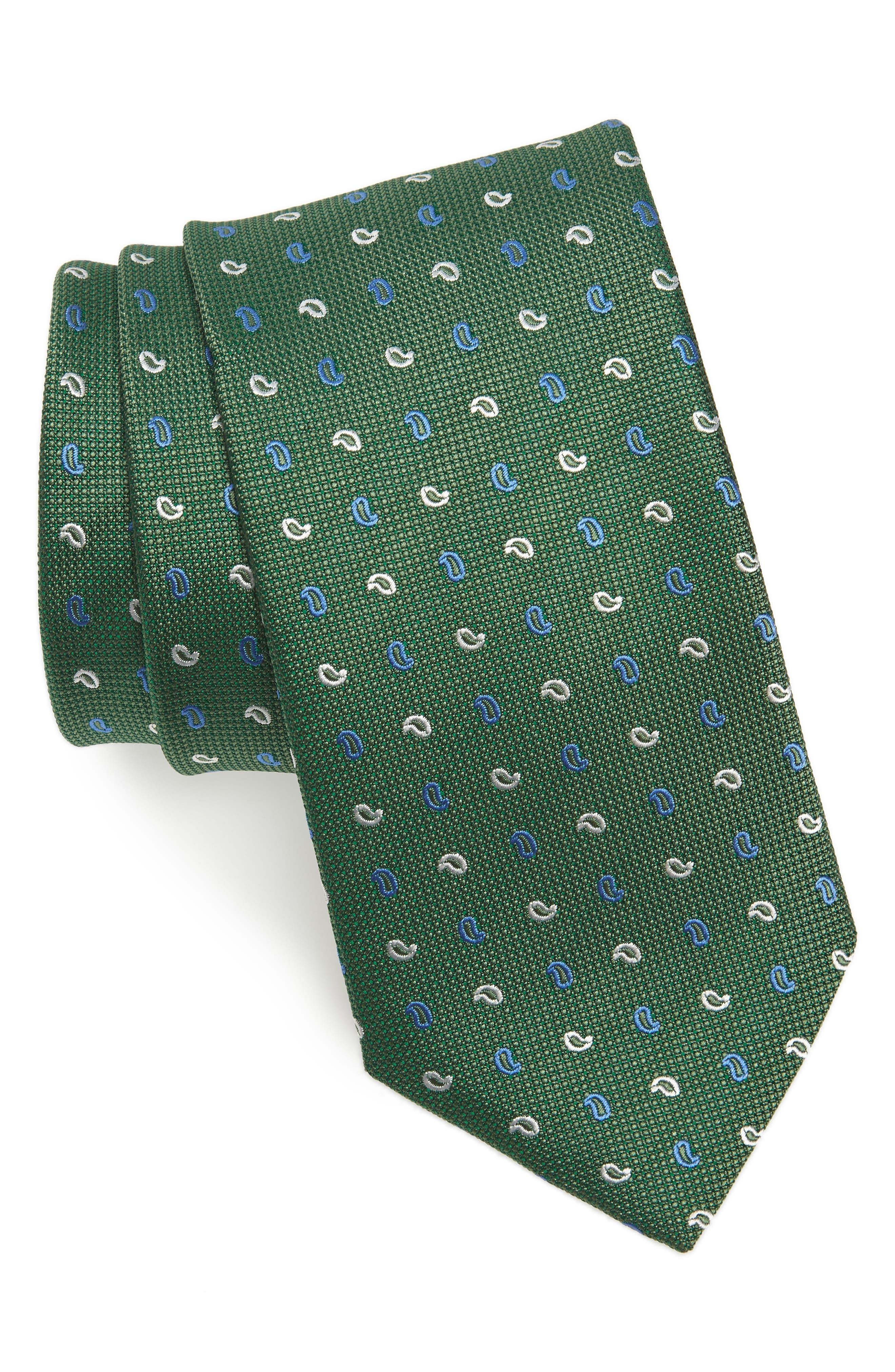 Paisley Silk Tie,                         Main,                         color, Grass