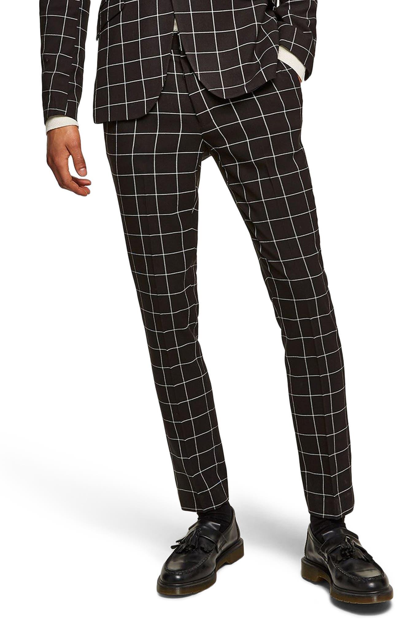 Skinny Fit Windowpane Suit Trousers,                         Main,                         color, Black Multi