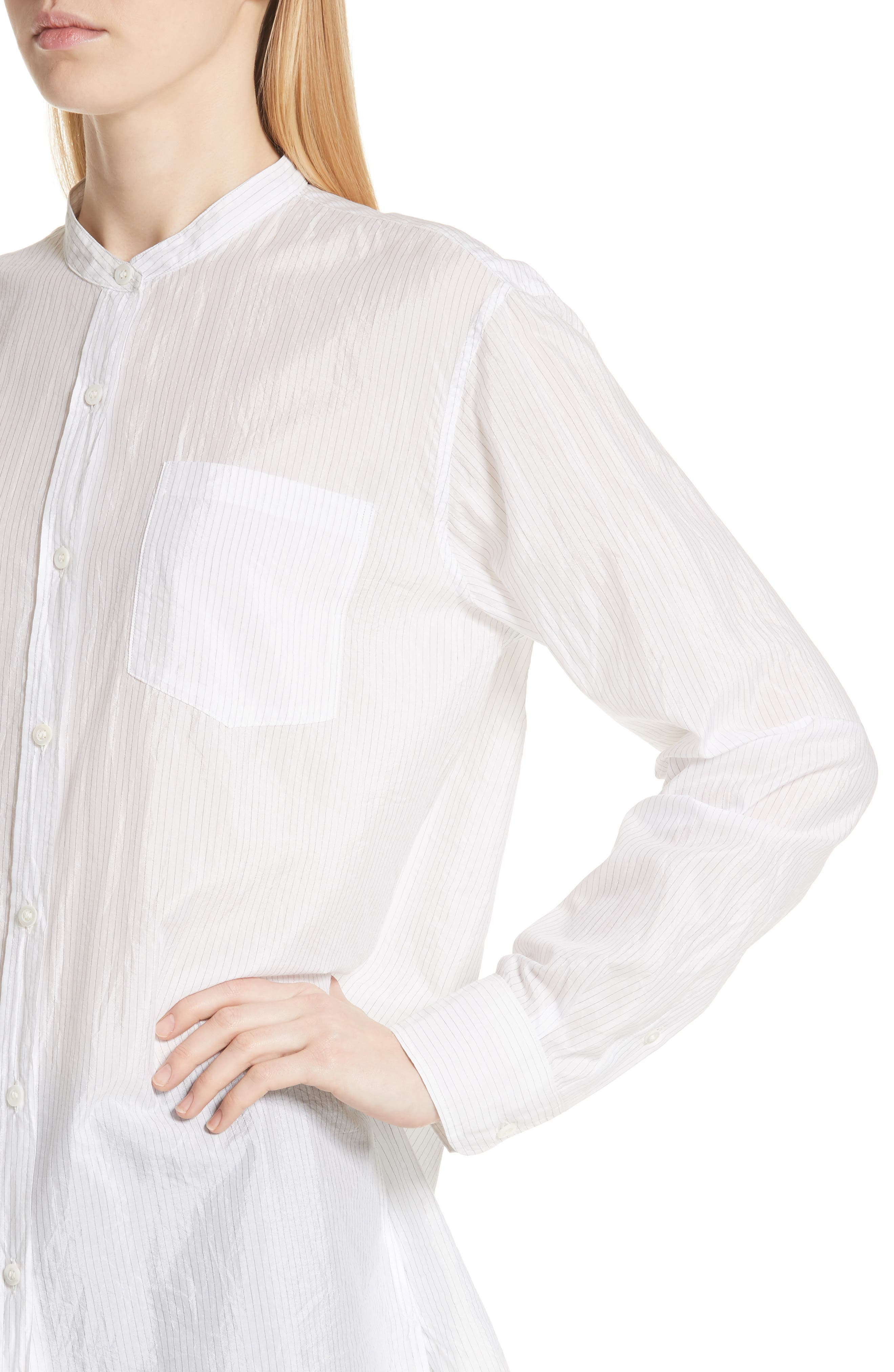 Cotton & Silk Stripe Shirt,                             Alternate thumbnail 5, color,                             Ecru