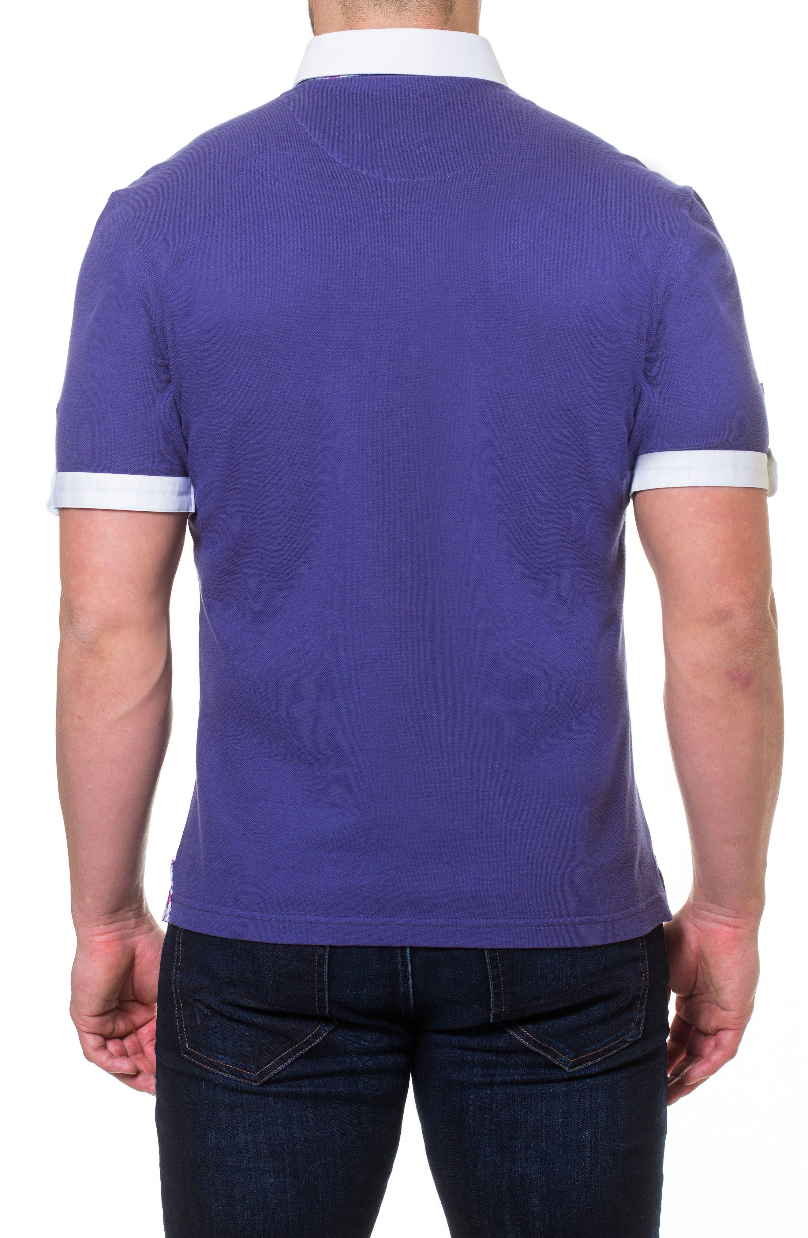 Woven Trim Polo,                             Alternate thumbnail 2, color,                             Purple