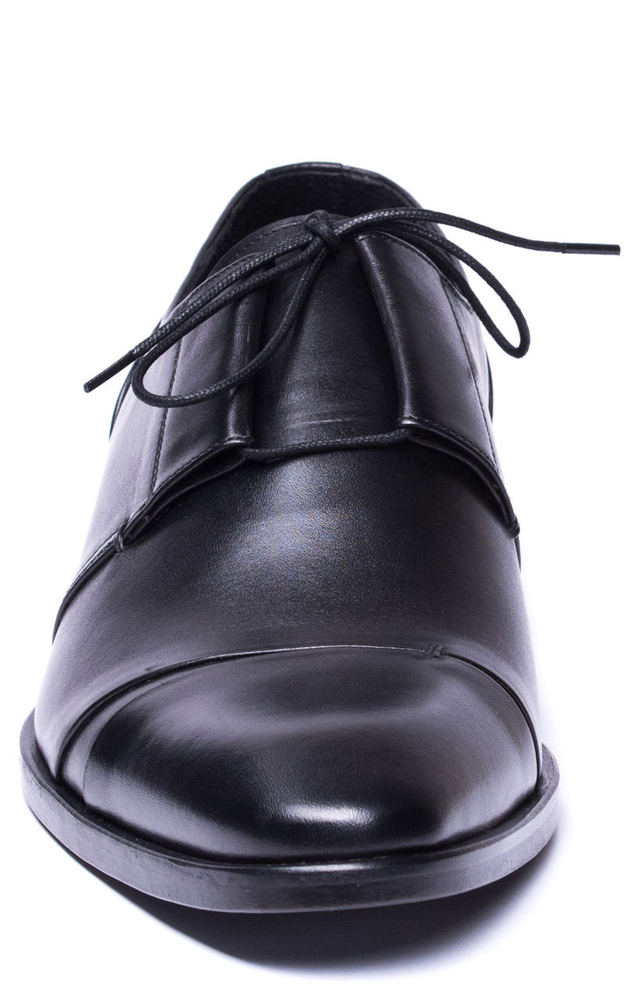 Danny Cap Toe Derby,                             Alternate thumbnail 4, color,                             Black Leather