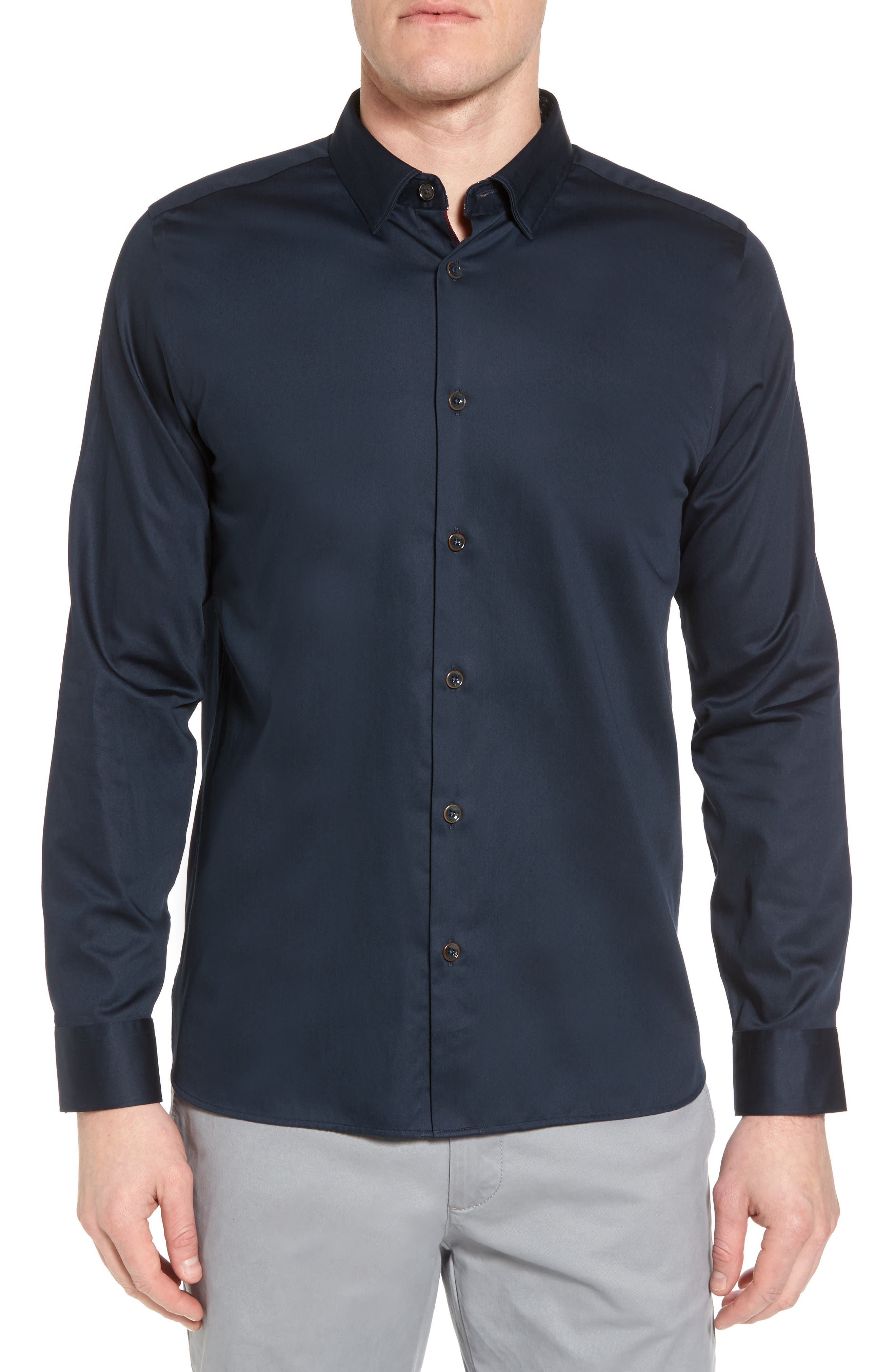 Byllytt Extra Slim Fit Stretch Solid Sport Shirt,                         Main,                         color, Navy