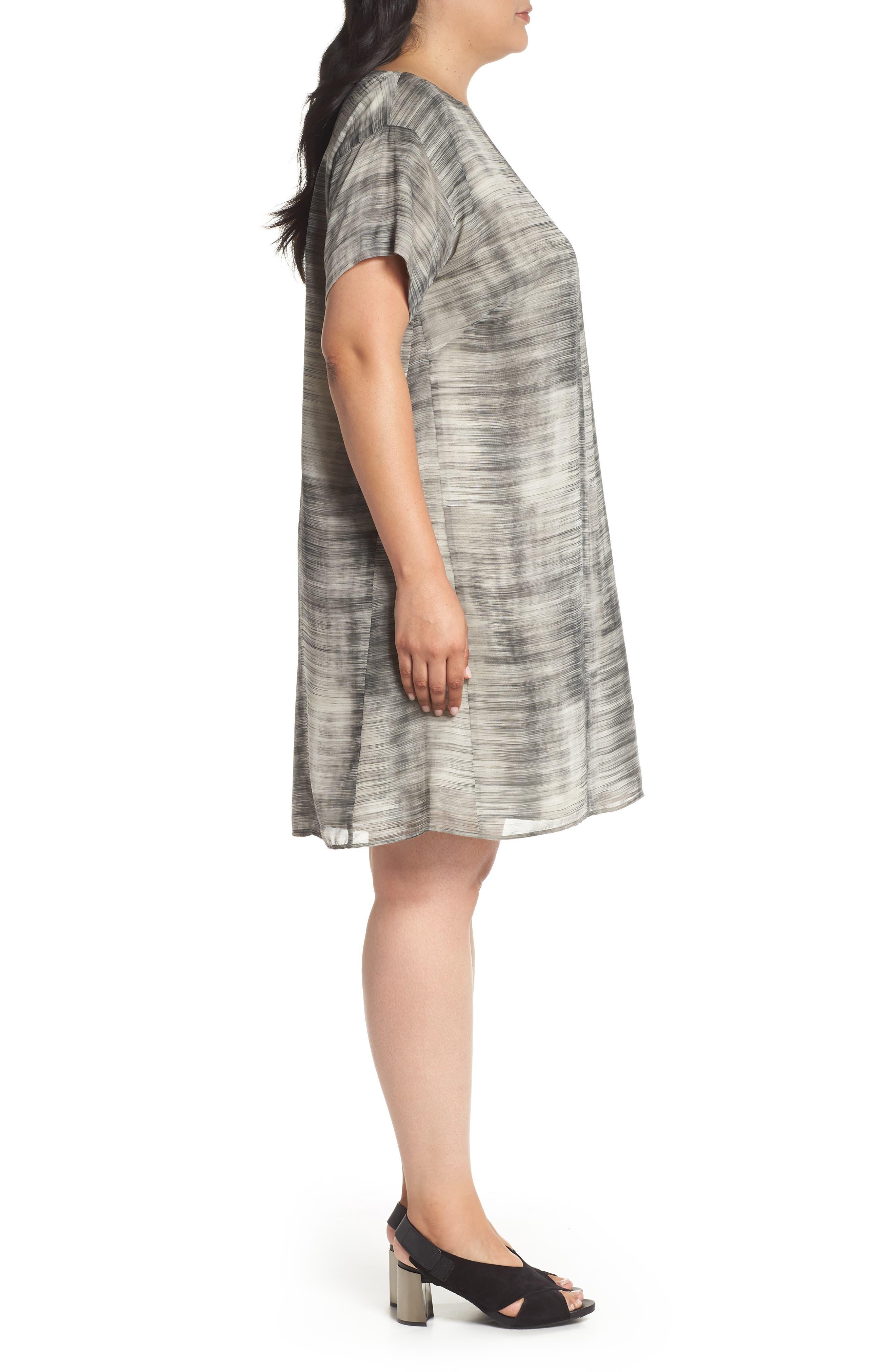 Bateau Neck Silk Shift Dress,                             Alternate thumbnail 3, color,                             Limestone