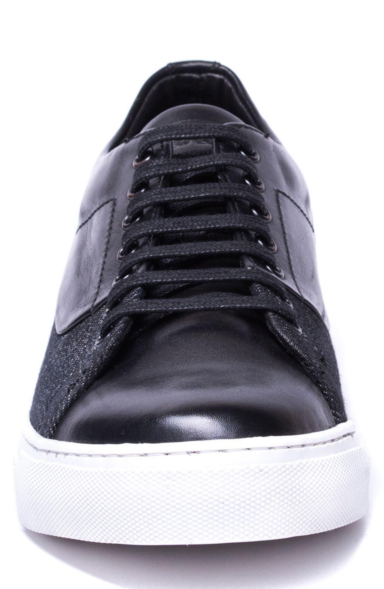 Luke Low Top Sneaker,                             Alternate thumbnail 4, color,                             Black Leather