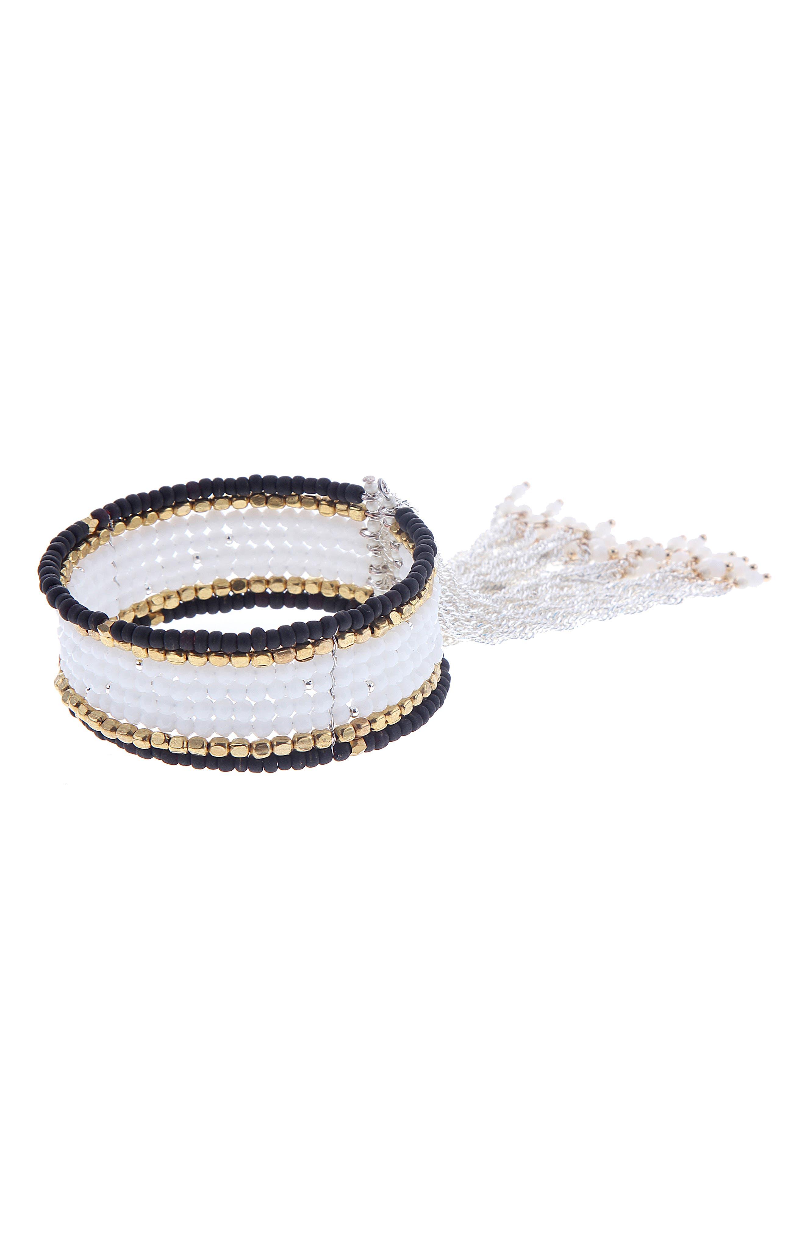 Beaded Chain Tassel Cuff Bracelet,                         Main,                         color, White/ Black