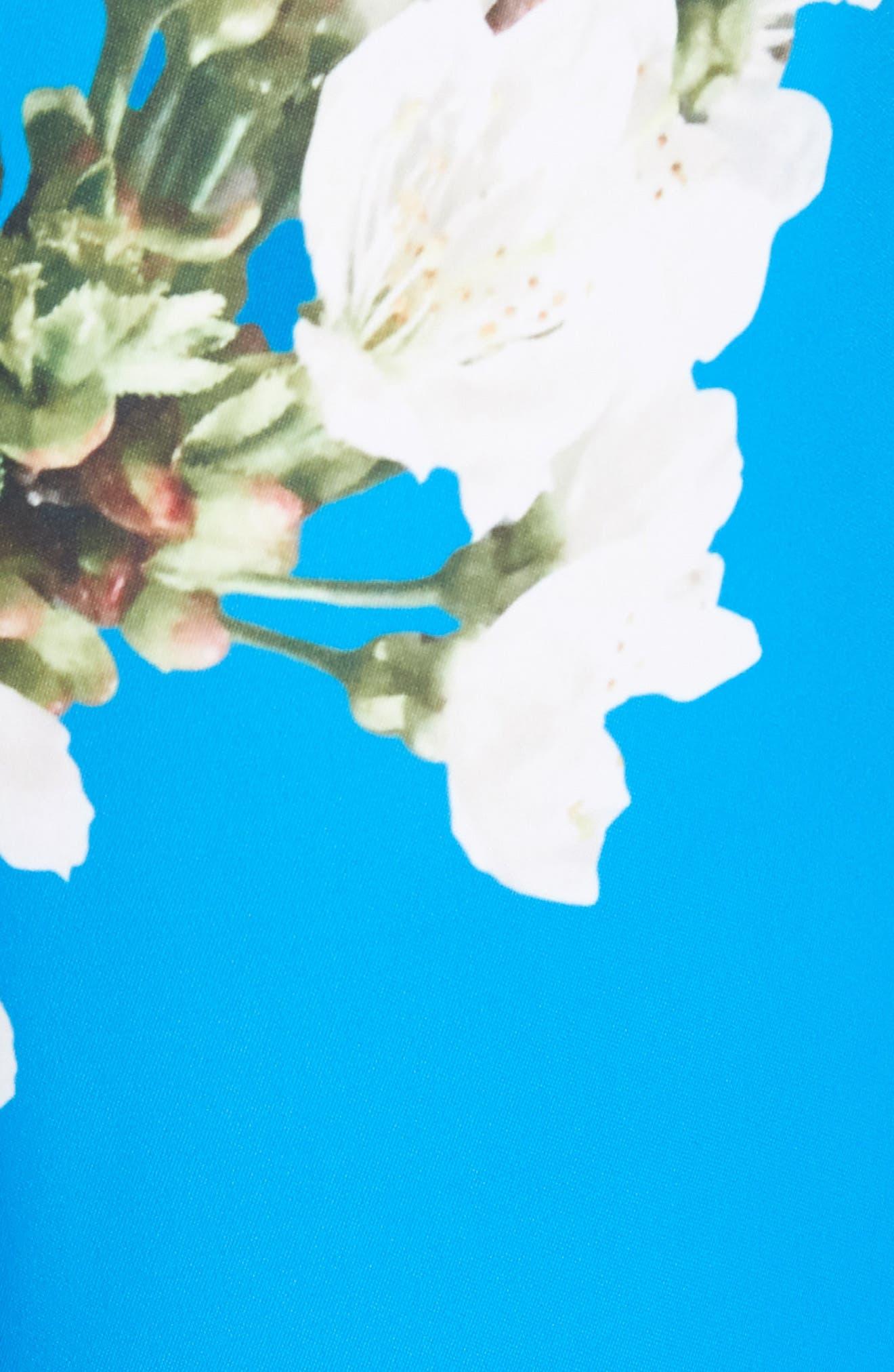 Harmony Wrap Front Floral Jumpsuit,                             Alternate thumbnail 5, color,                             Bright Blue