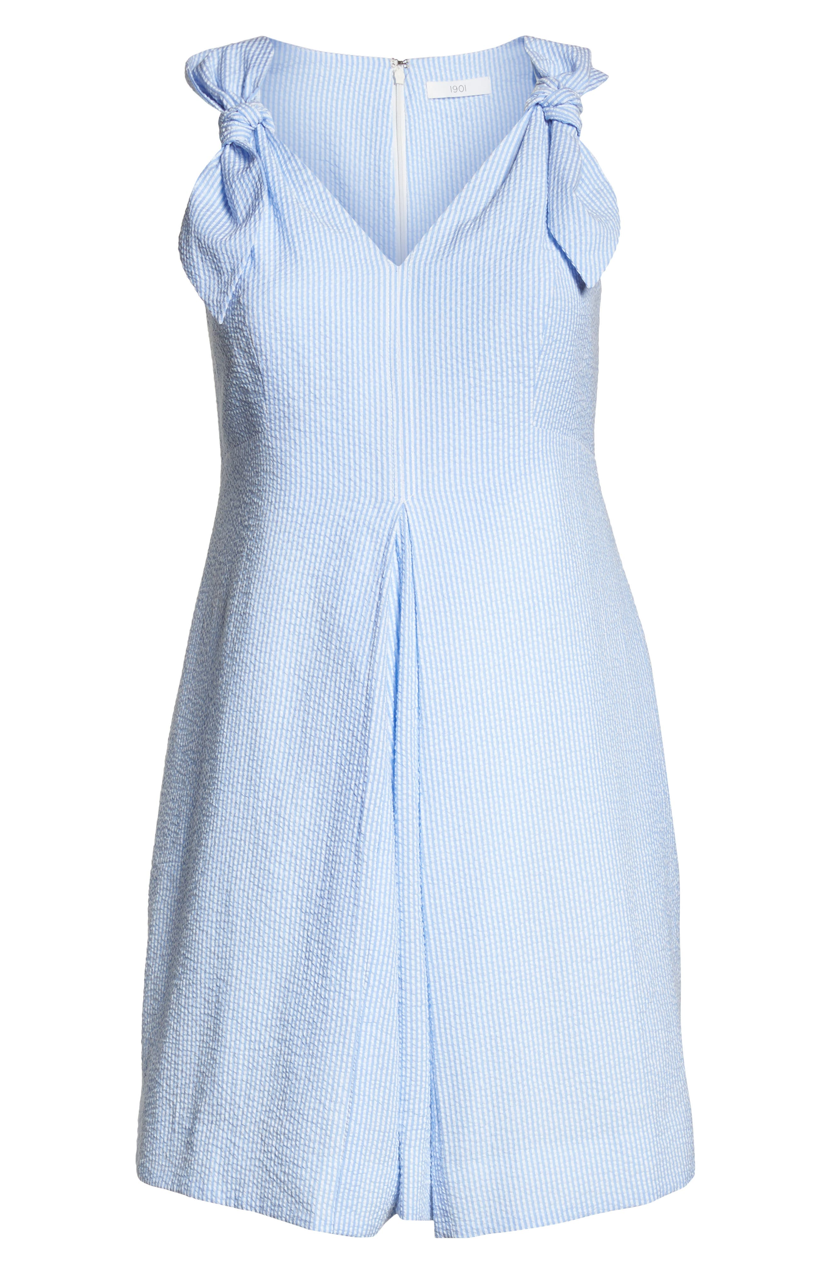 Bow Shoulder Seersucker Dress,                             Alternate thumbnail 8, color,                             Blue Seersucker Stripe
