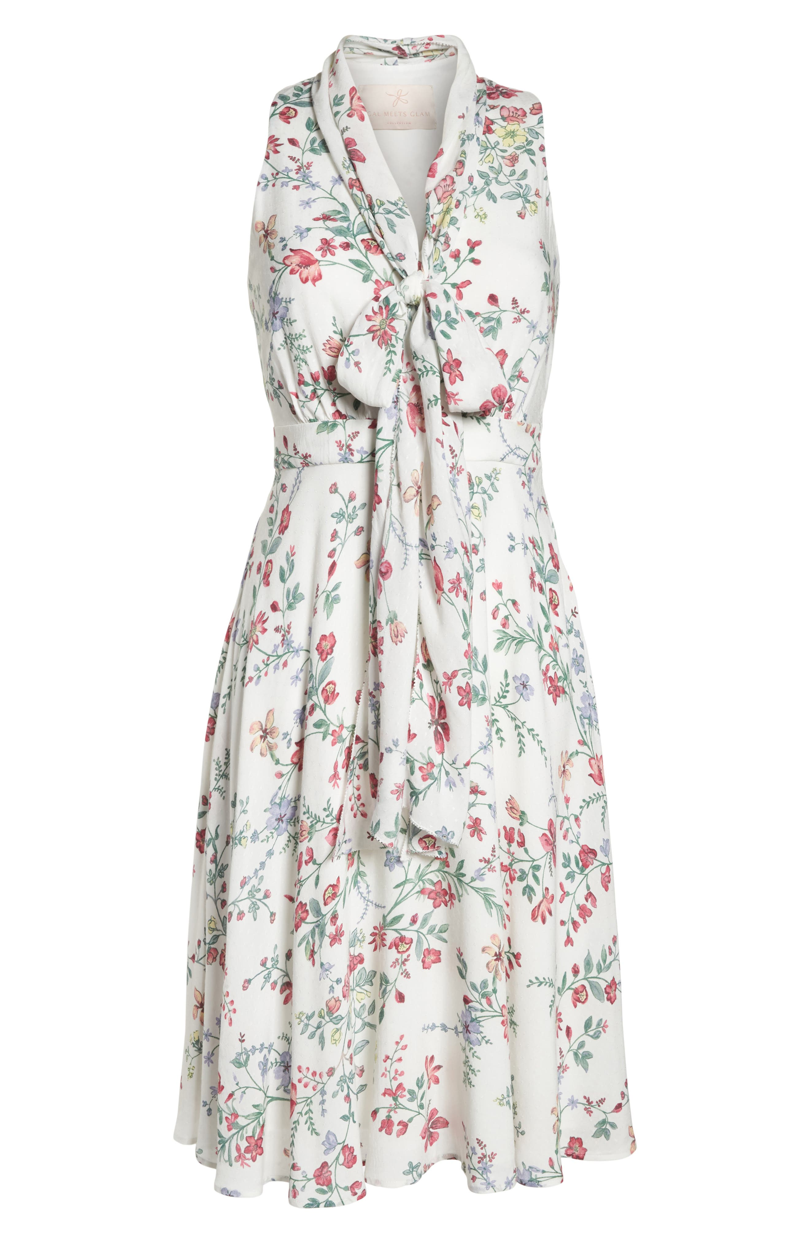 Alexis Delicate Blossom Print Tie Neck Dress,                             Alternate thumbnail 8, color,                             Pearl Rose